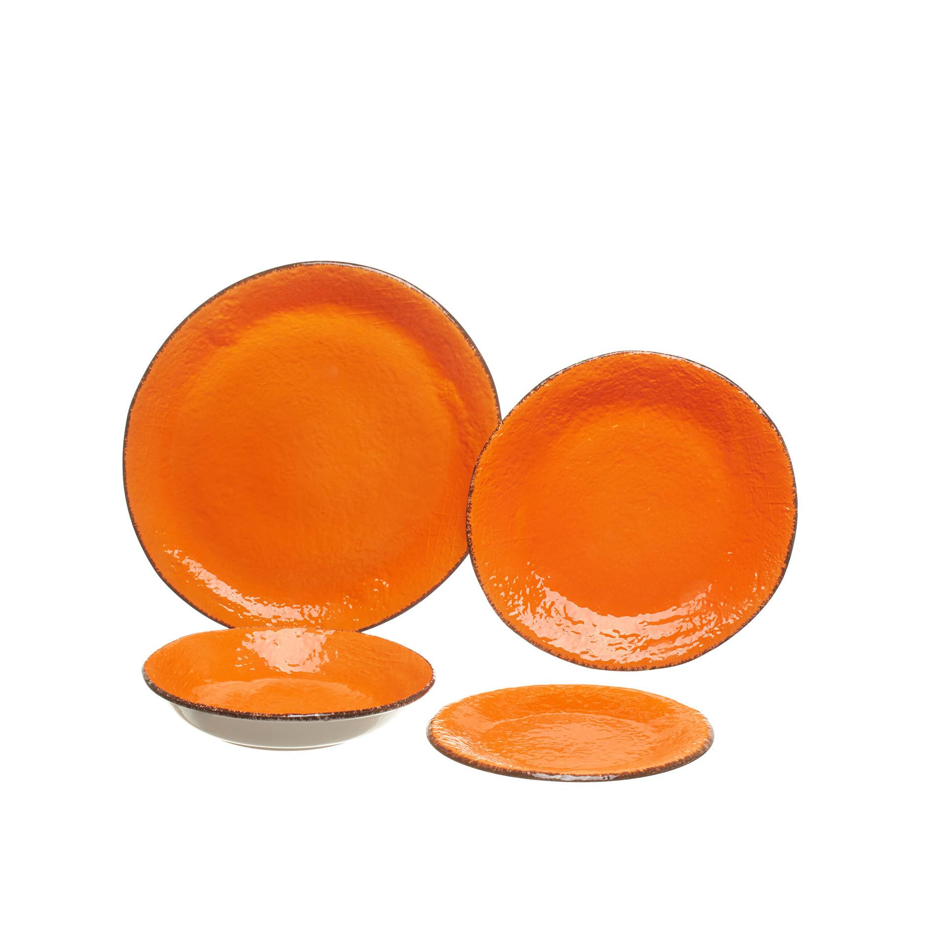 Piatto frutta ceramica fatto a mano, Arancione, large image number 1