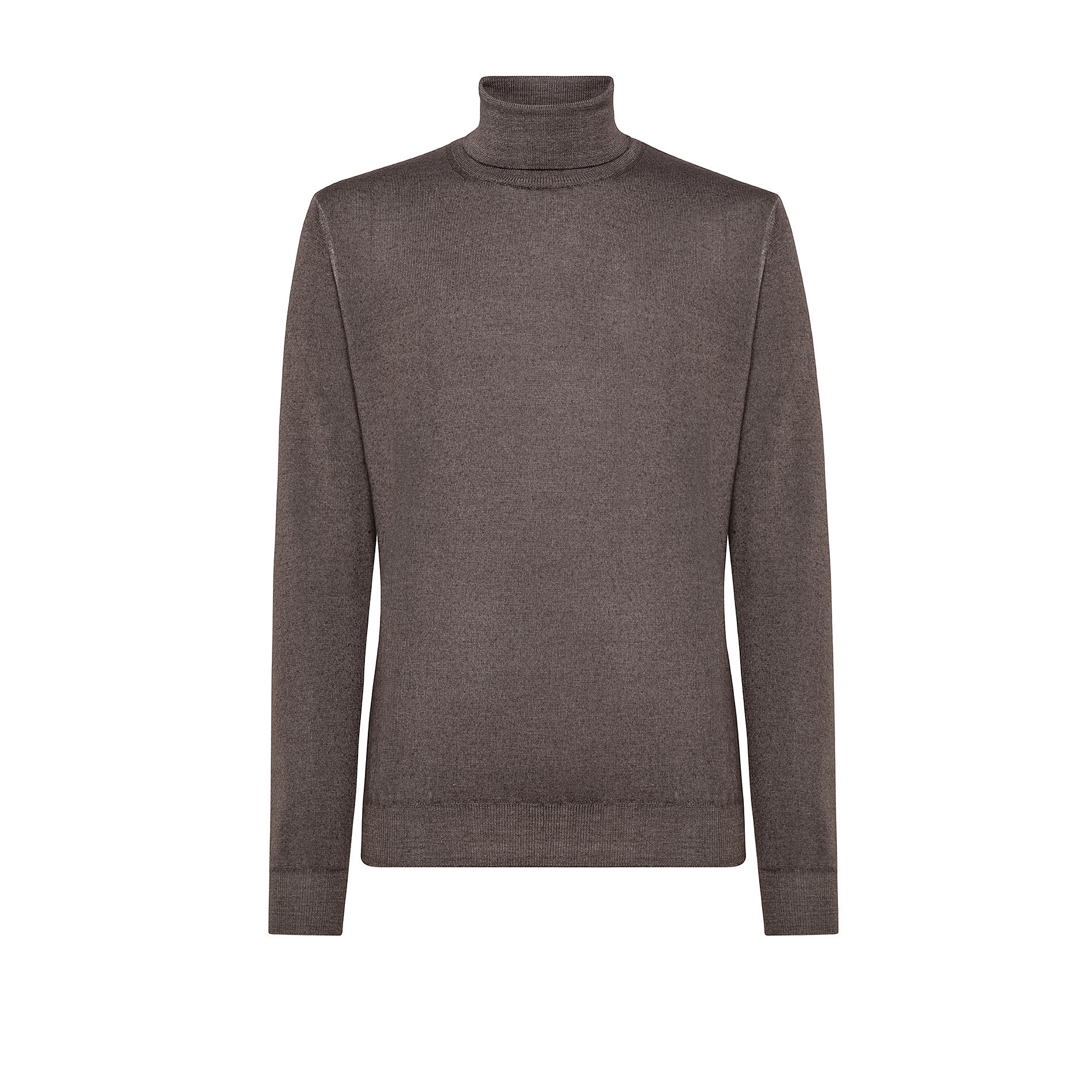 Pullover lana merinos collo alto, Marrone, large image number 0