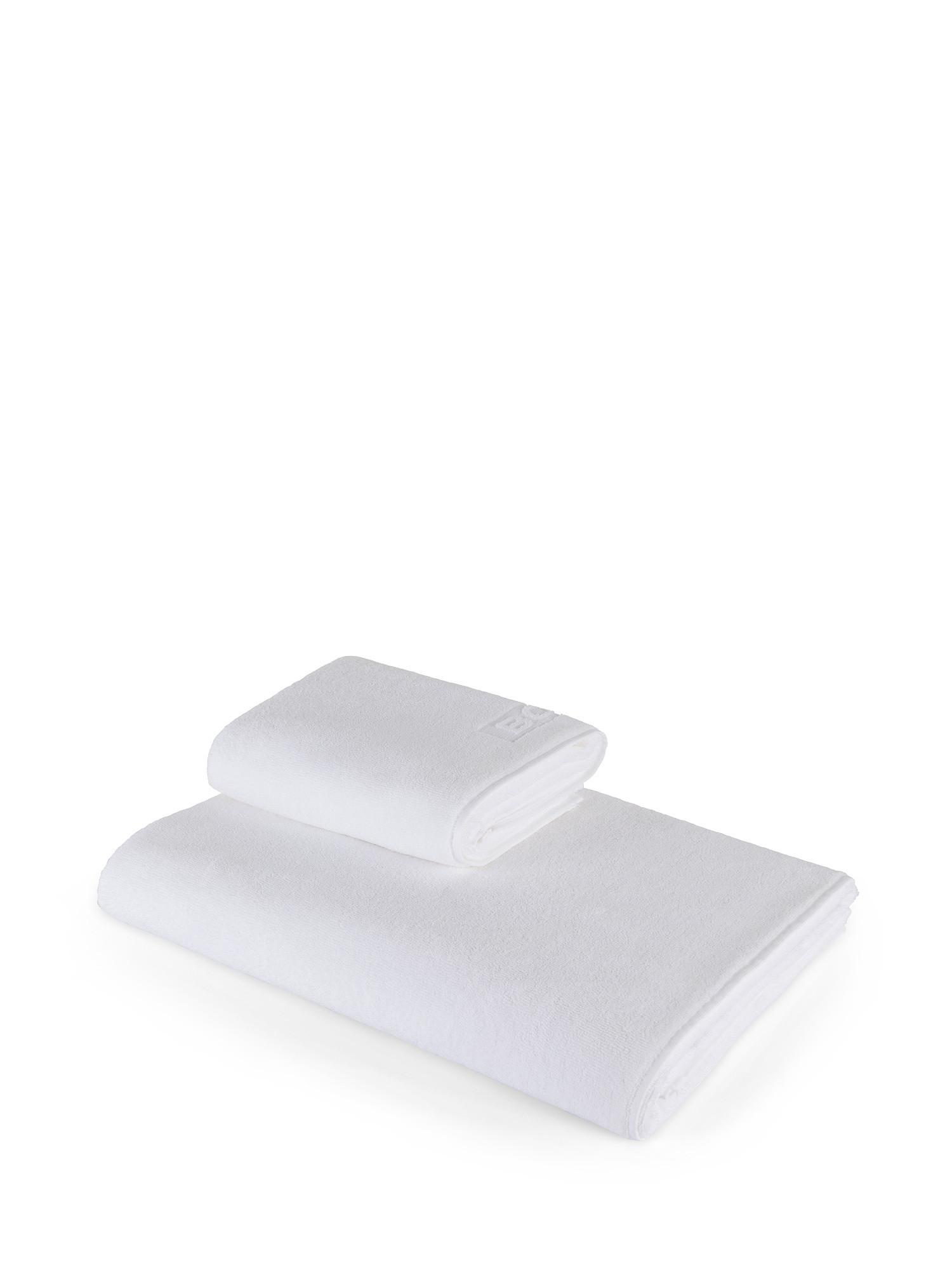 Asciugamano capelli spugna di cotone tinta unita, Bianco, large image number 0