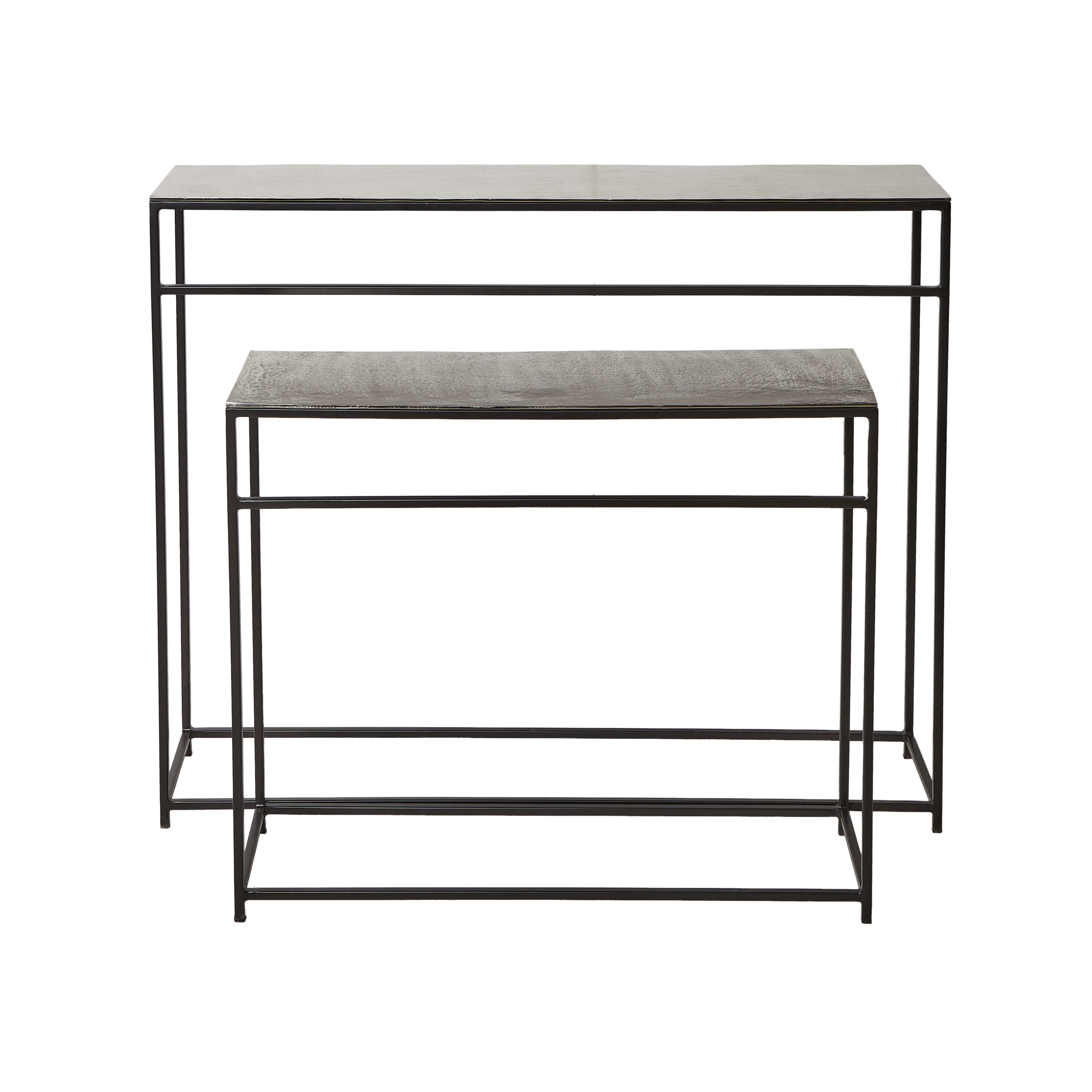 Consolle in alluminio e ferro Consuelo, Grigio argento, large image number 1
