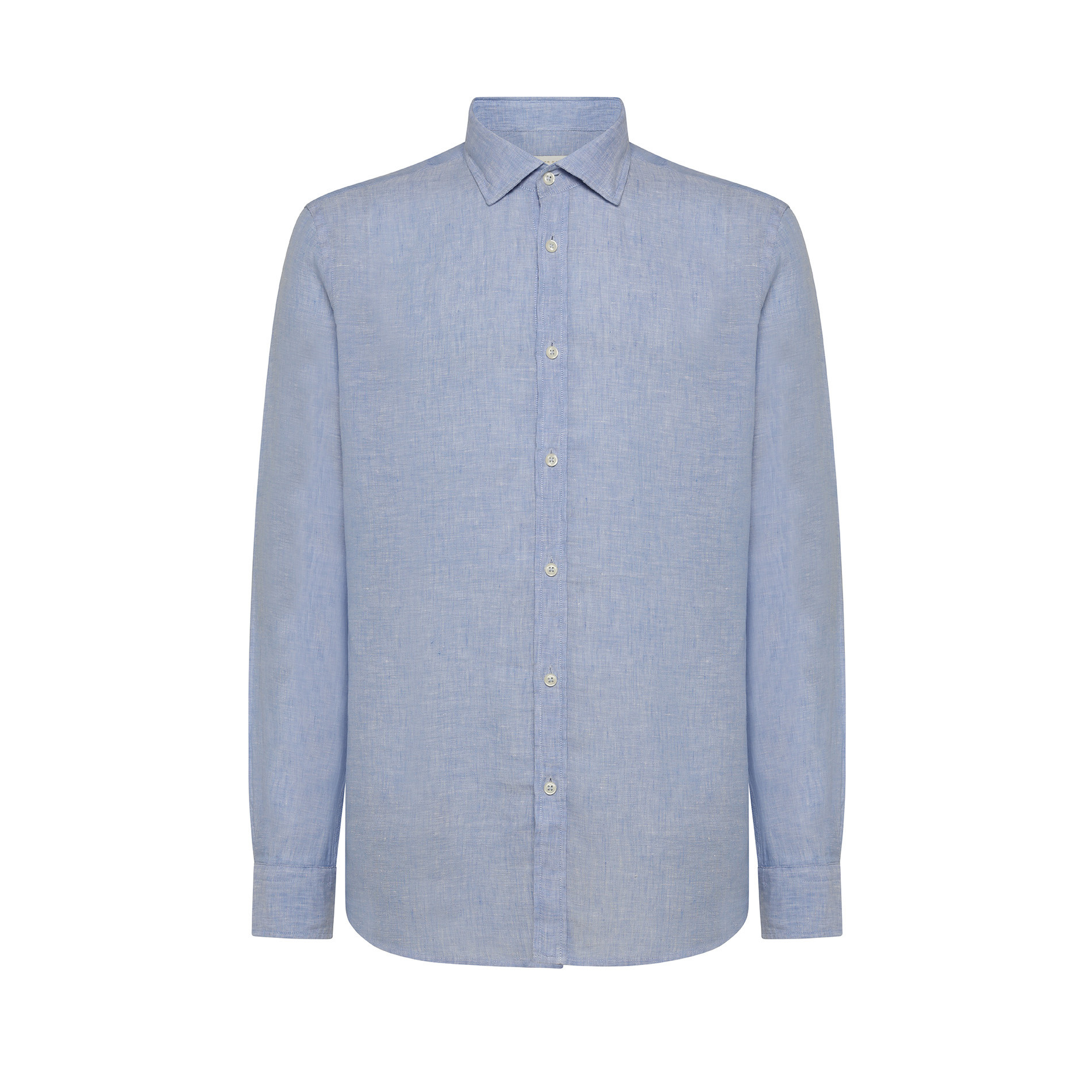 Camicia puro lino tailor fit Luca D'Altieri, Azzurro, large image number 0