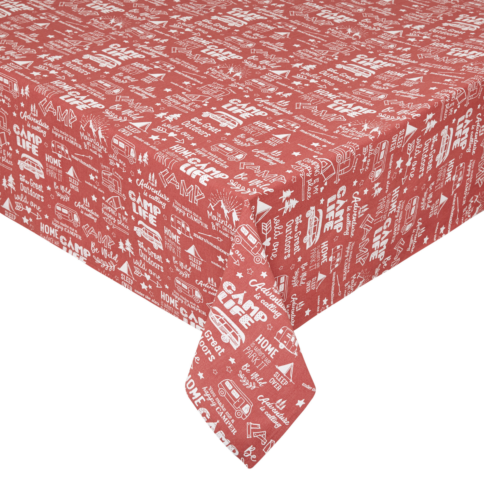 Tovaglia puro cotone stampa camping, Rosa scuro, large image number 0
