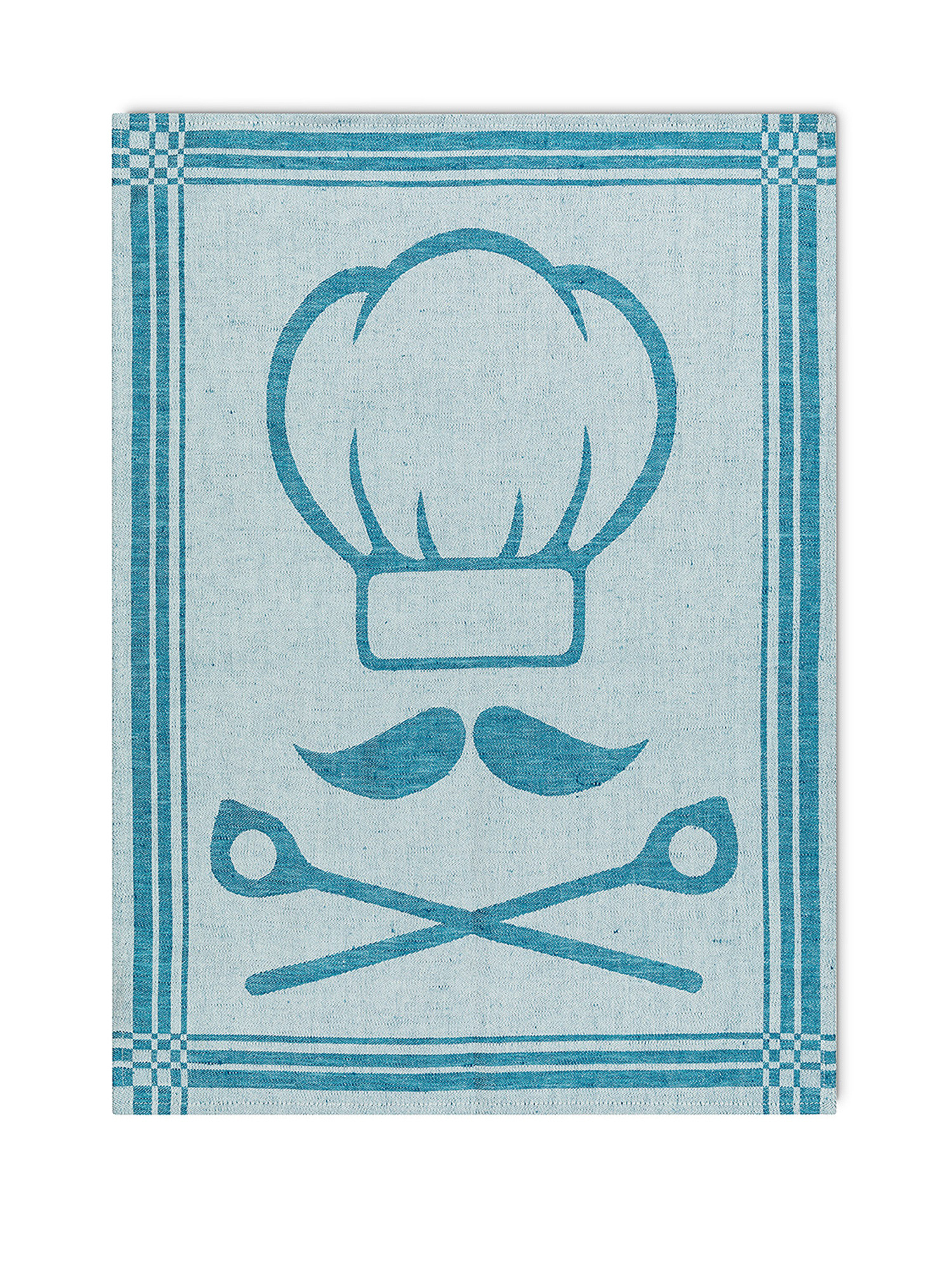 Strofinaccio cotone e lino motivo chef, Azzurro, large image number 1