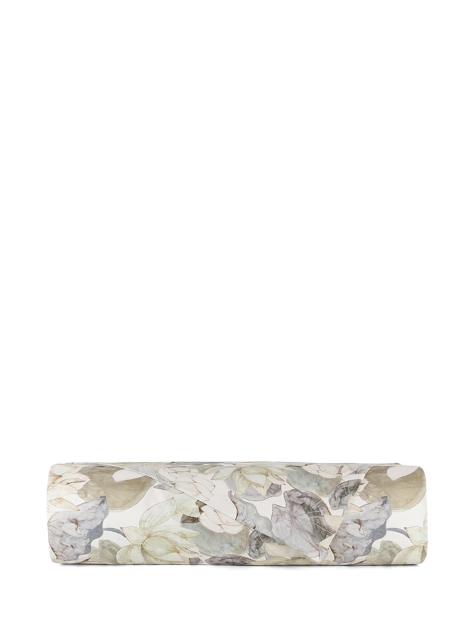 Lenzuolo liscio raso di cotone fantasia ninfea, Verde, large image number 1