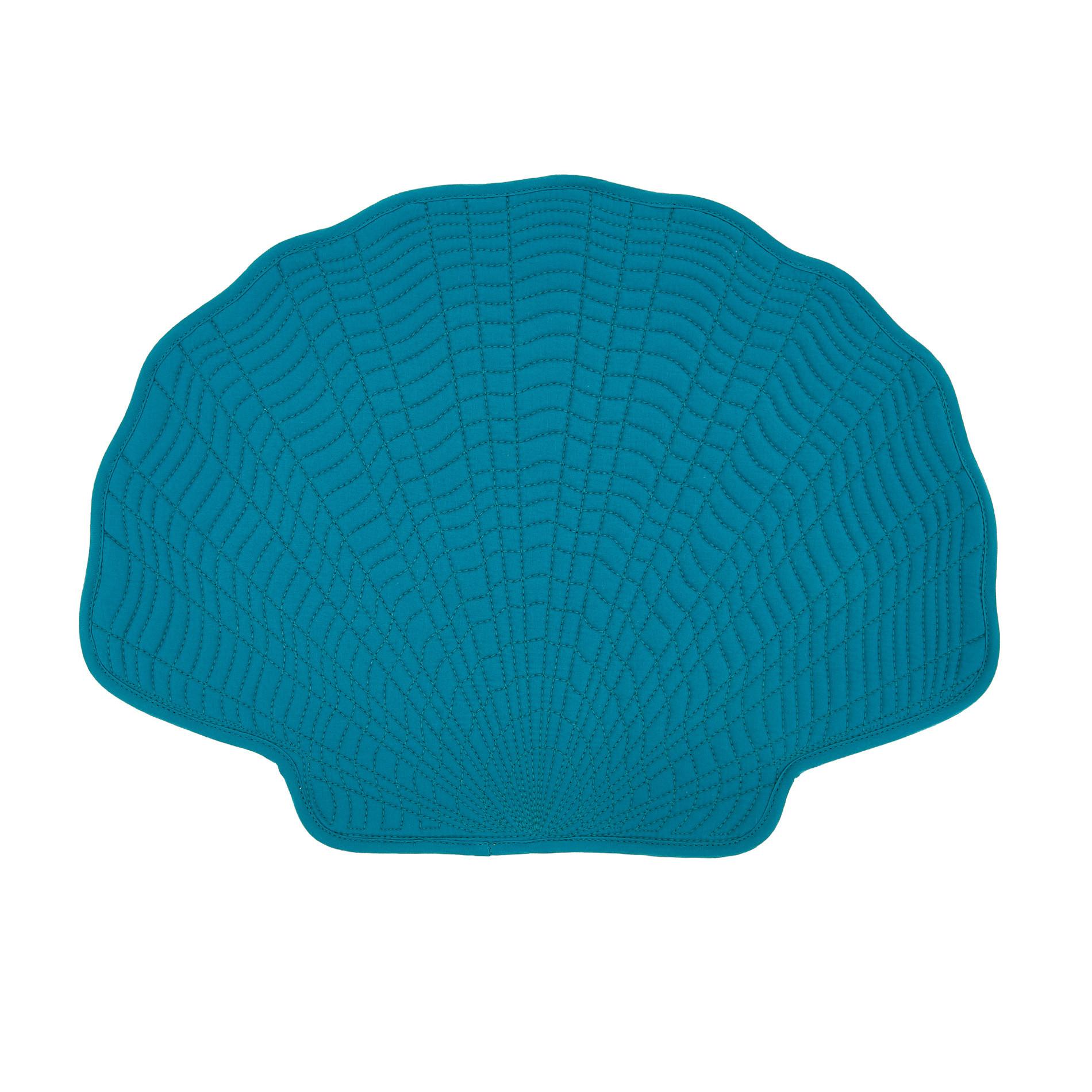 Tovaglietta cotone trapuntato a conchiglia, Blu, large image number 0