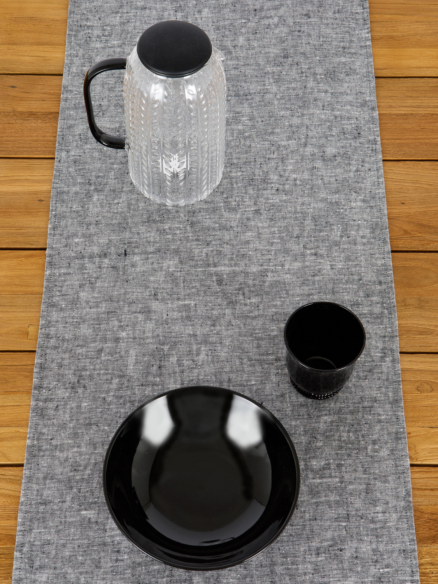 Runner lino lavato tinta unita, Grigio, large image number 2