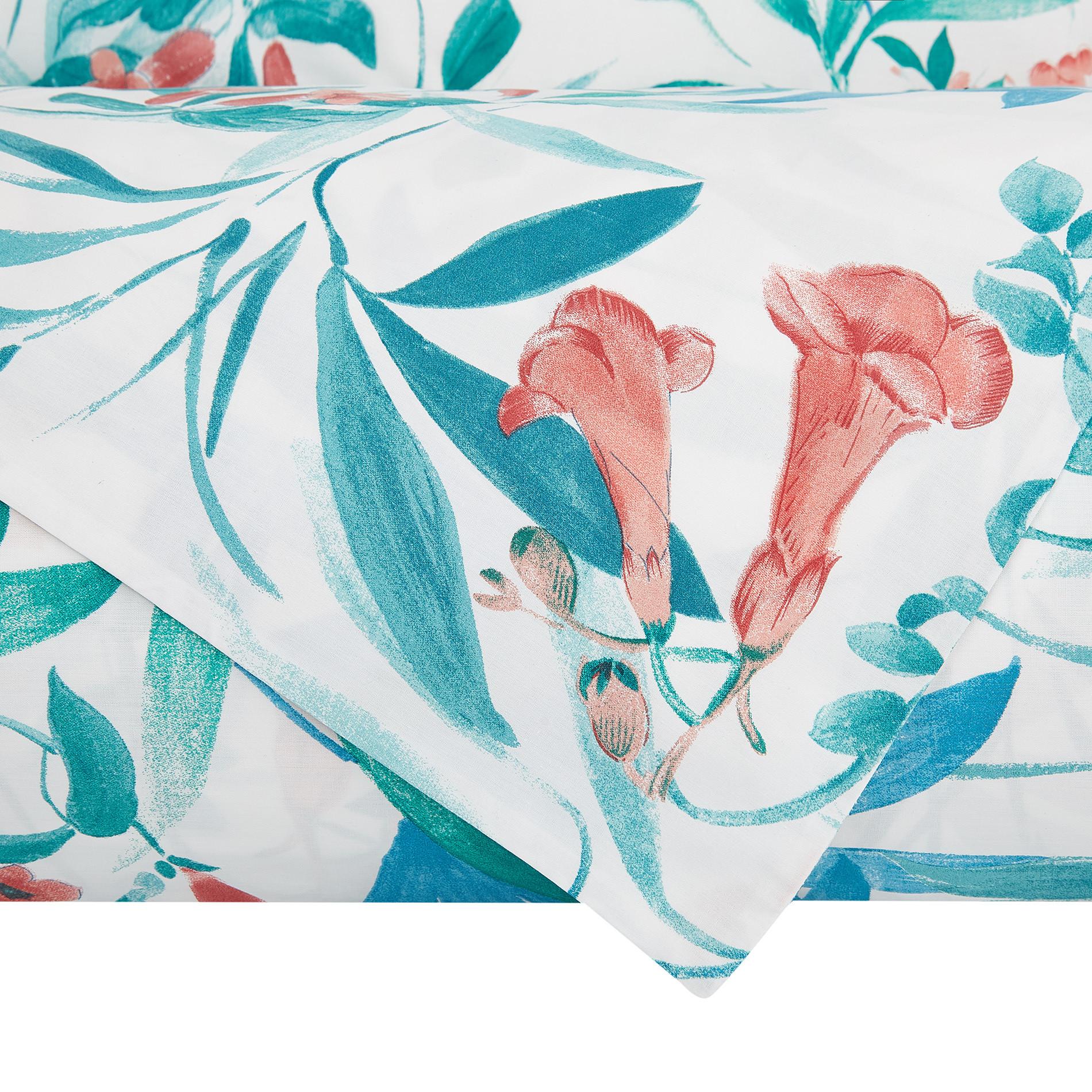 Lenzuolo liscio cotone biologico fantasia foglie, Bianco, large image number 2