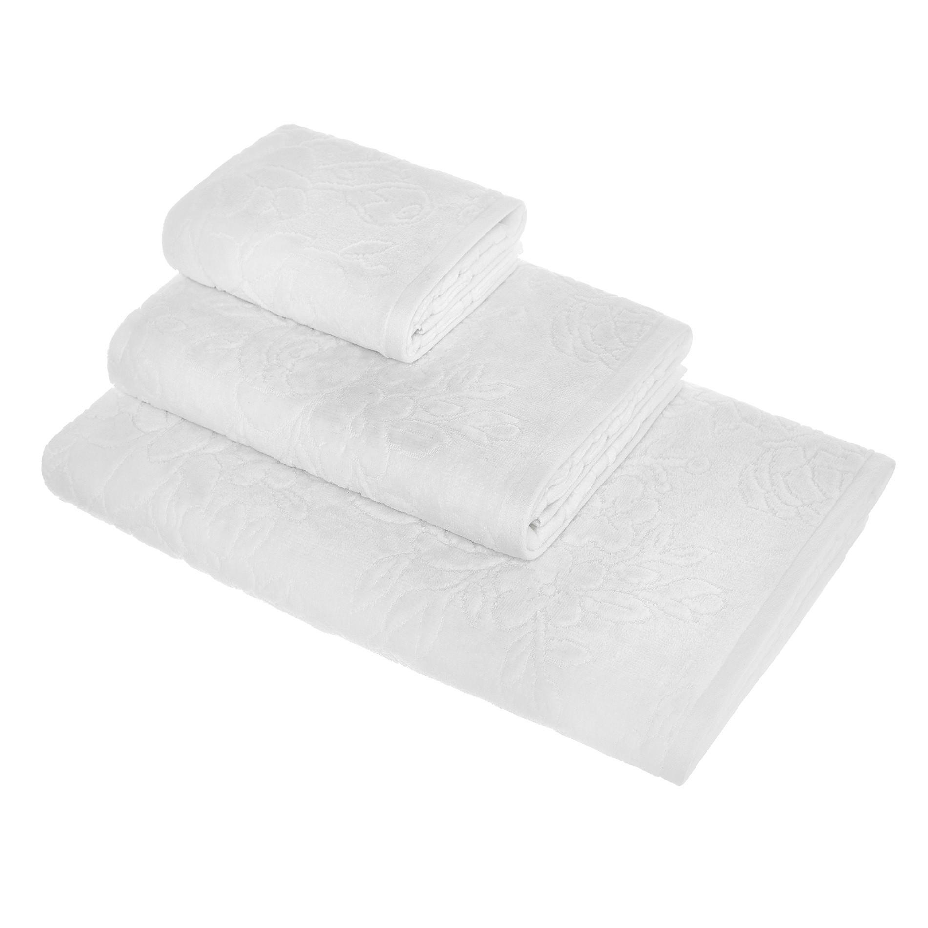 Asciugamano puro cotone lavorazione floreale, Bianco, large image number 0