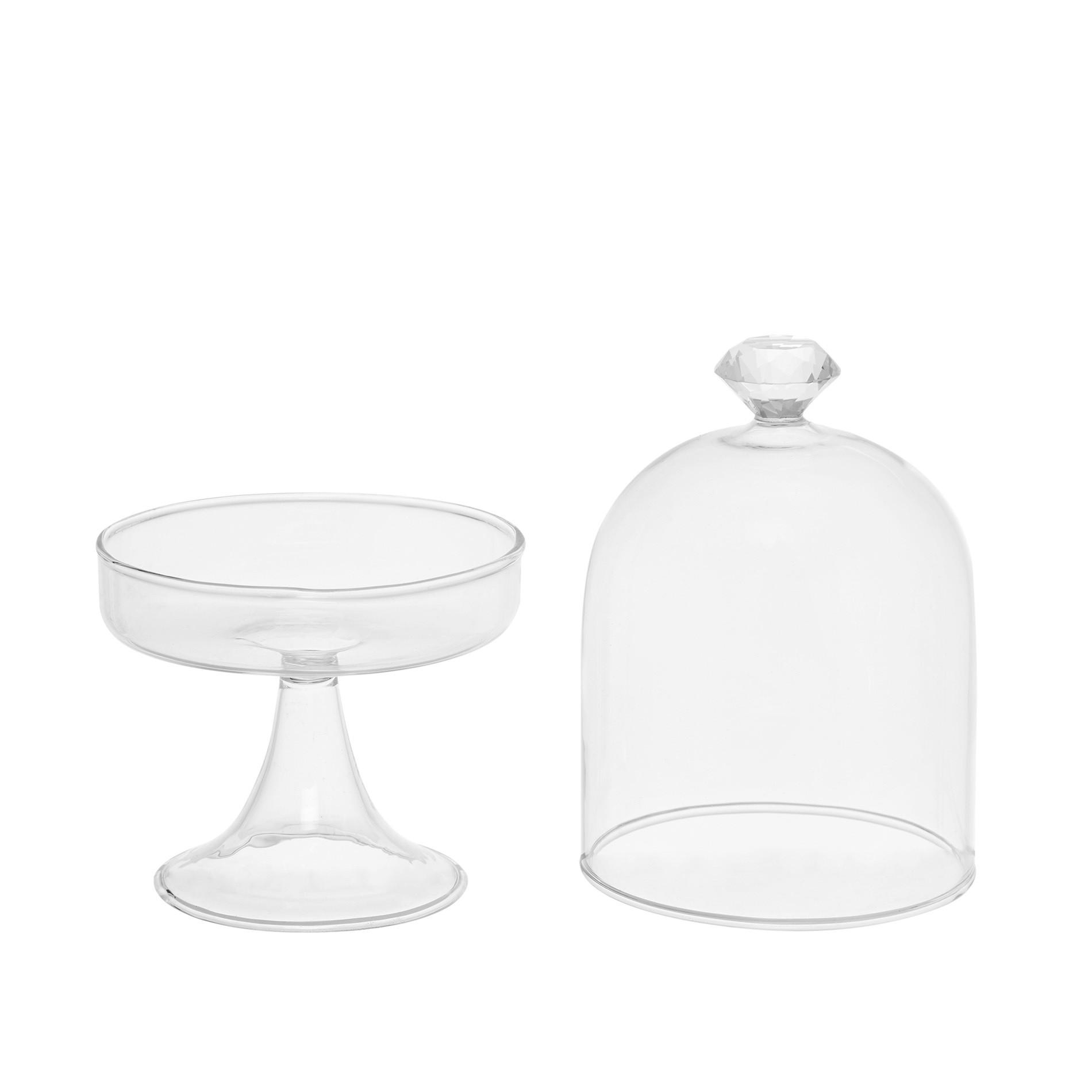 Alzata vetro con diamante, Bianco, large image number 1