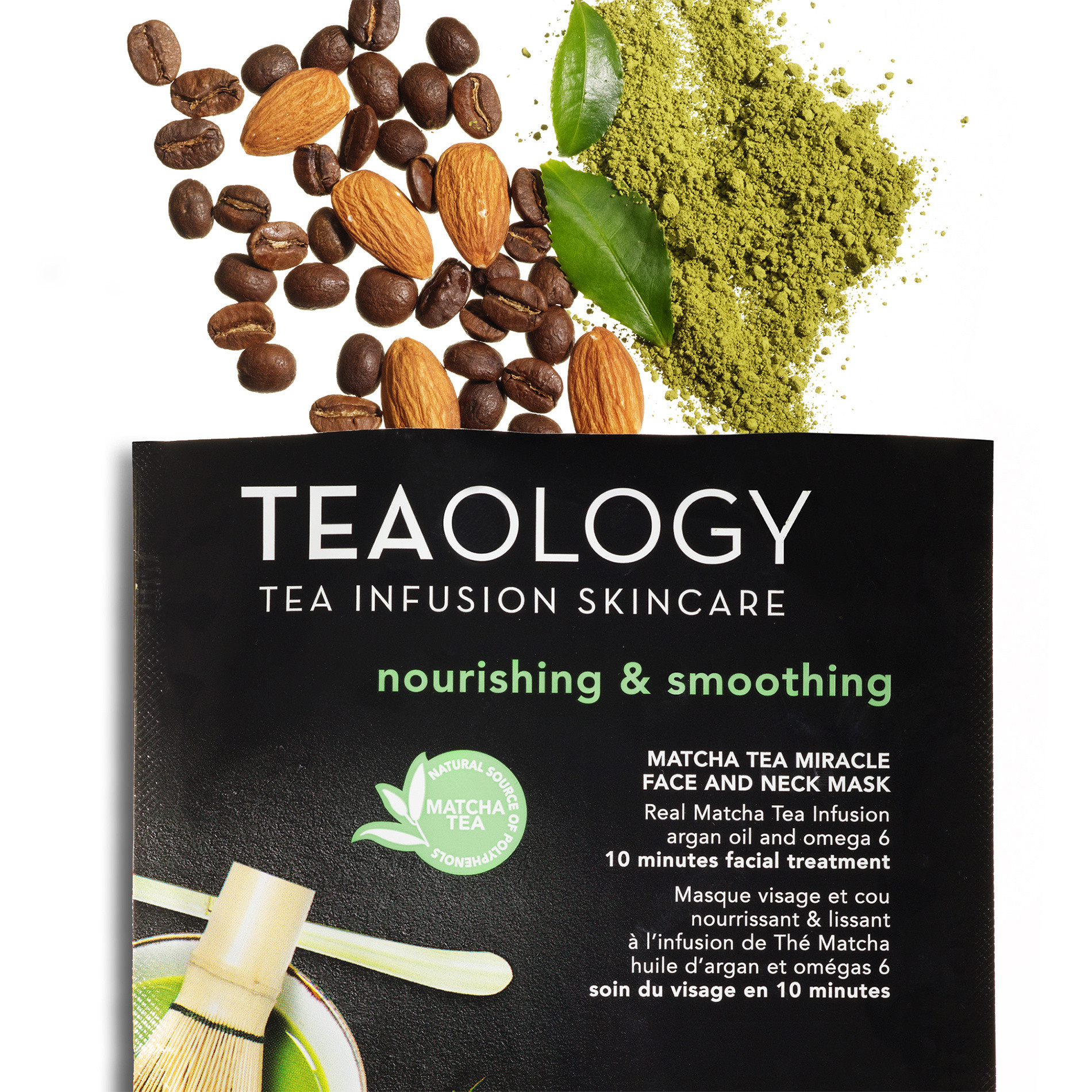 Matcha Tea Miracle Face and Neck Mask Nutriente e Levigante 30 ml, Nero, large image number 2