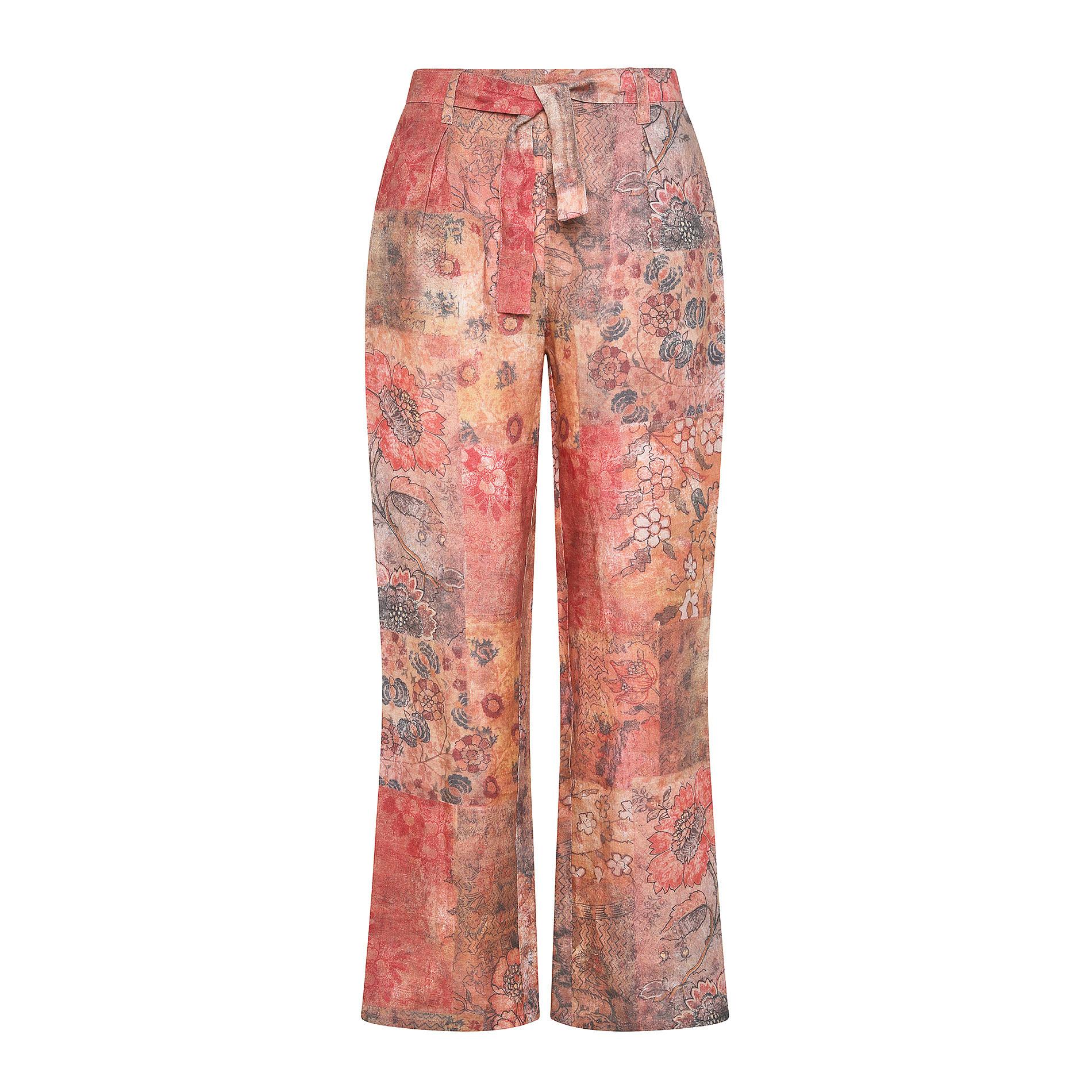 Pantalone morbido in puro lino fantasia floreale, Multicolor, large image number 0