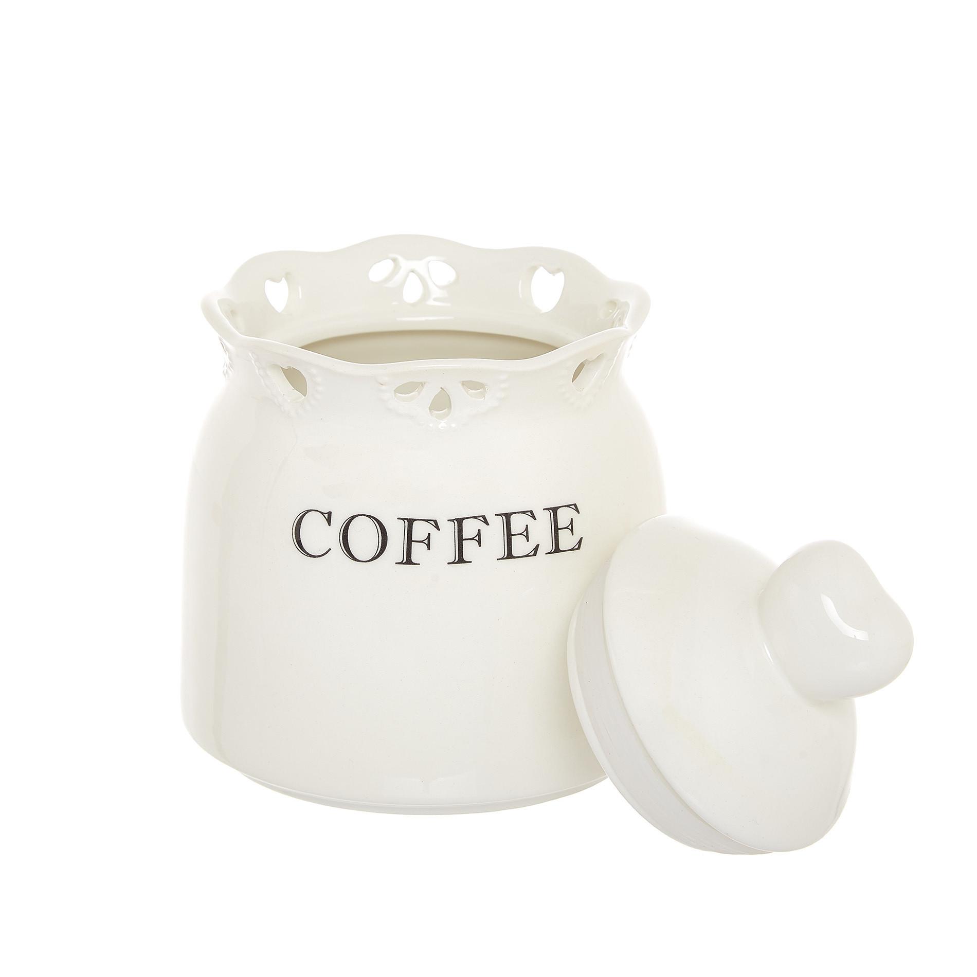 Barattolo coffee ceramica traforata, Bianco, large image number 1