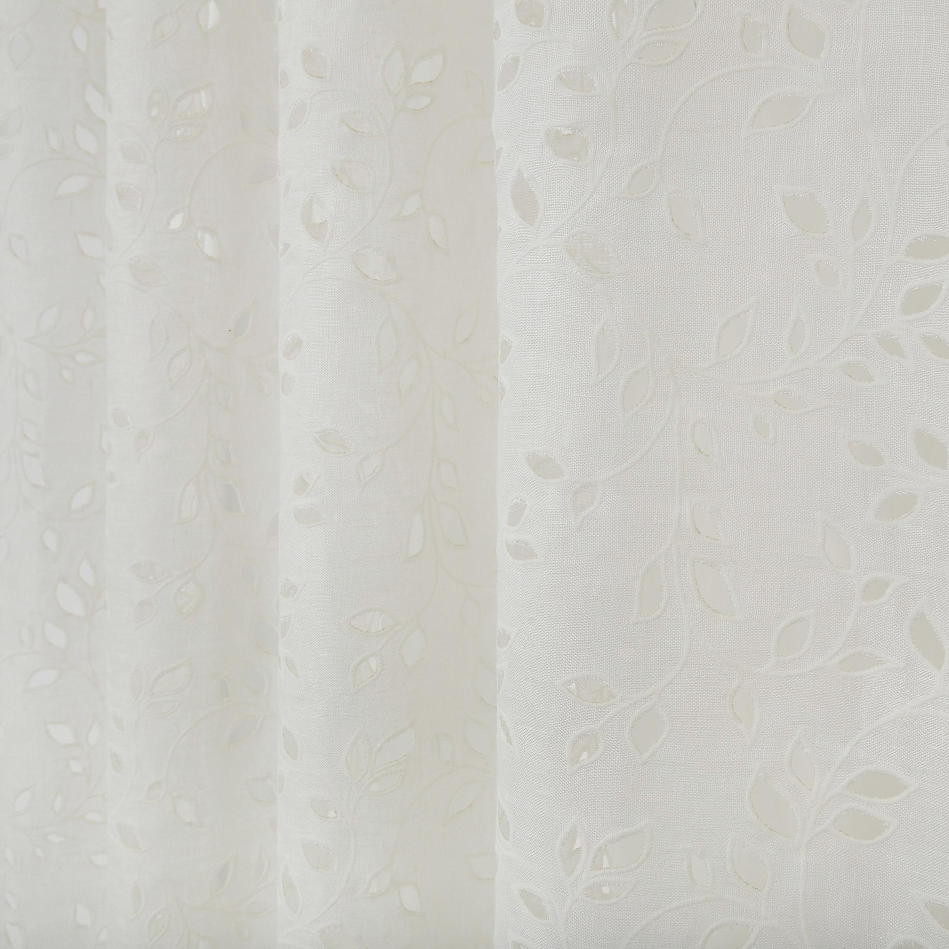 Tenda lino sangallo passanti nascosti, Bianco, large image number 0
