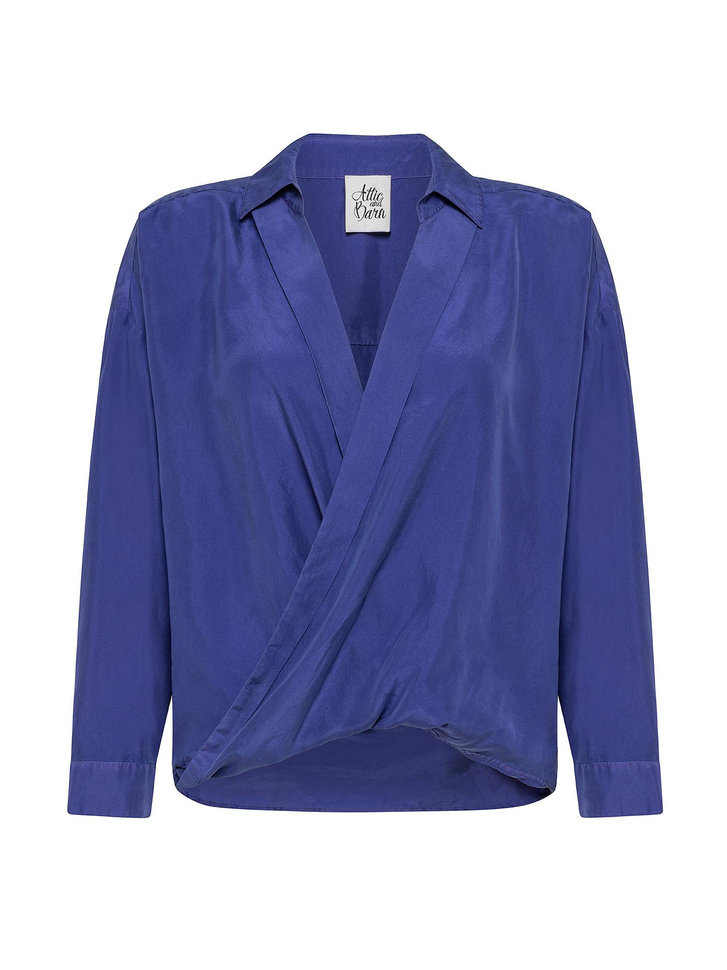 Camicia donna in seta, Azzurro Oceano, large image number 0