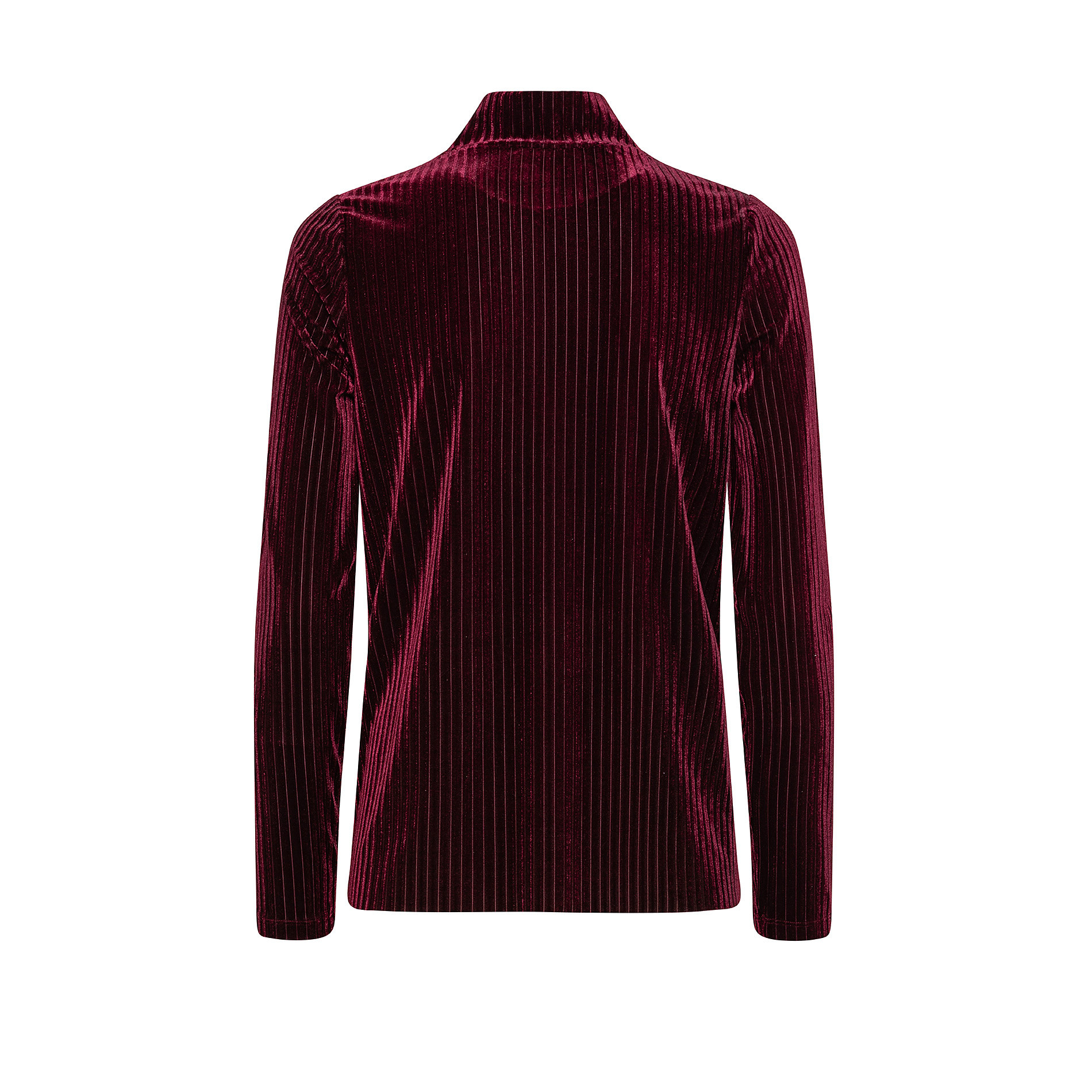 T-shirt collo alto in ciniglia, Rosso scuro, large image number 1