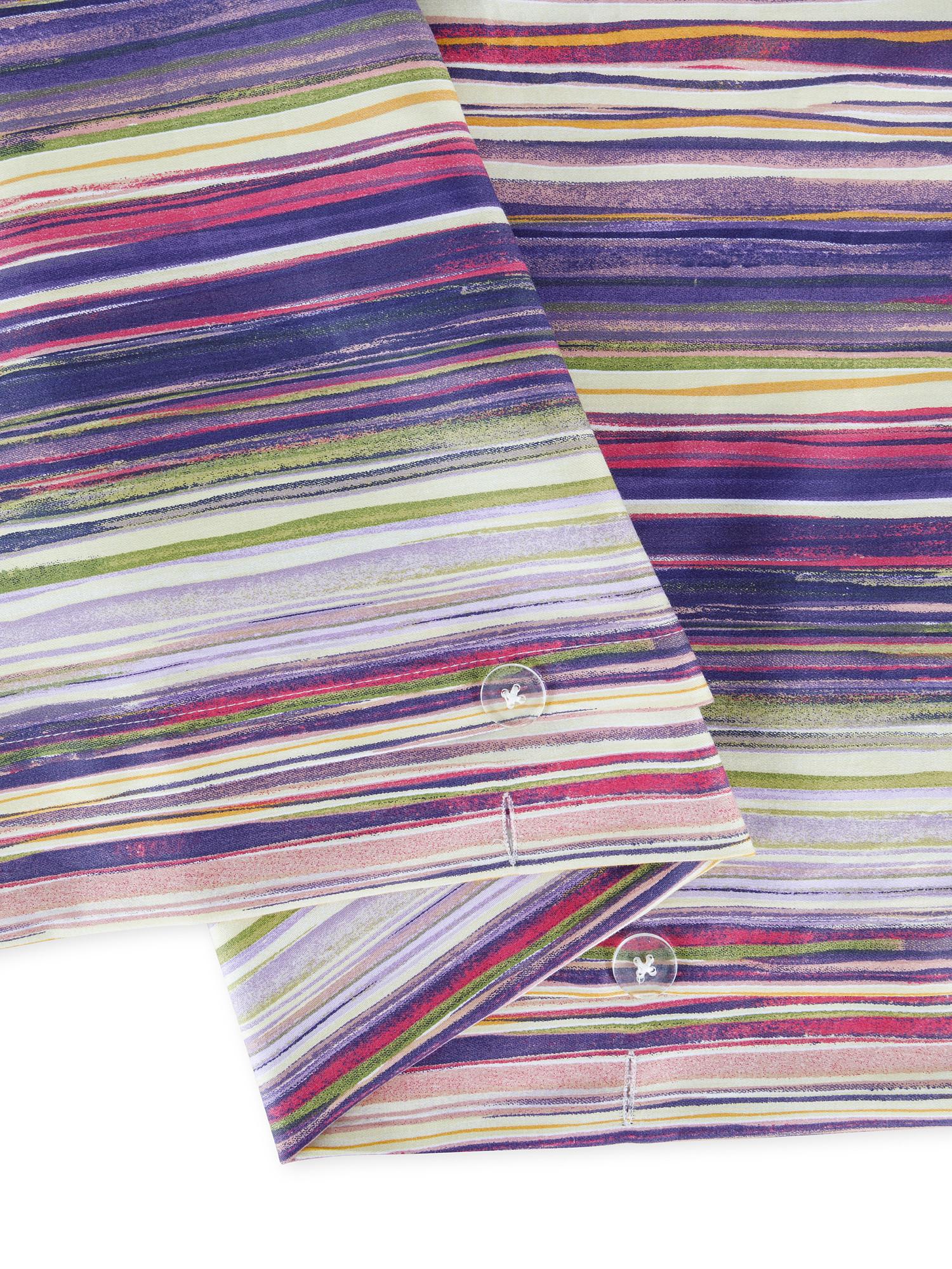 Copripiumino raso di cotone fantasia mille righe, Viola, large image number 2