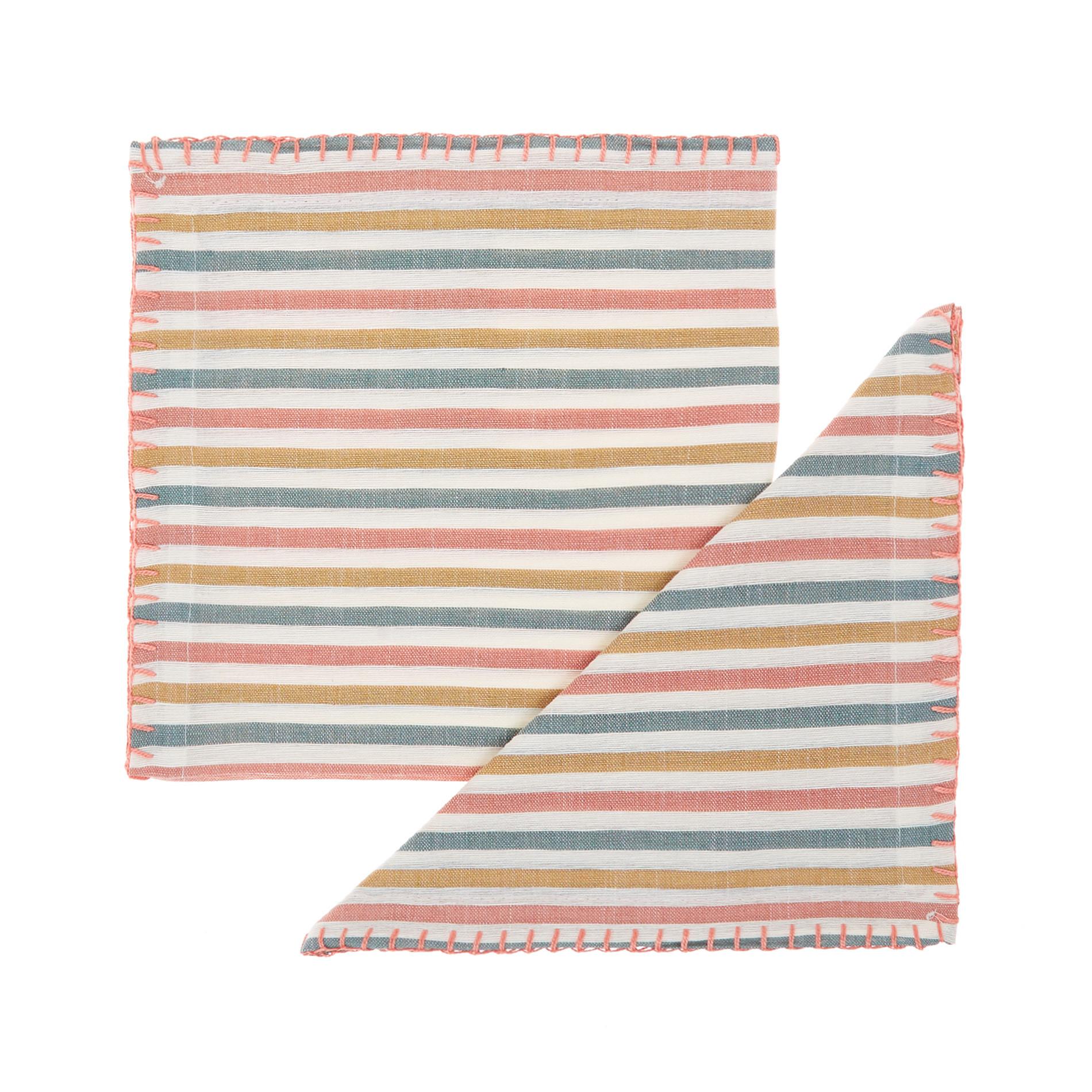 Set 2 tovaglioli misto lino a righe, Multicolor, large image number 0