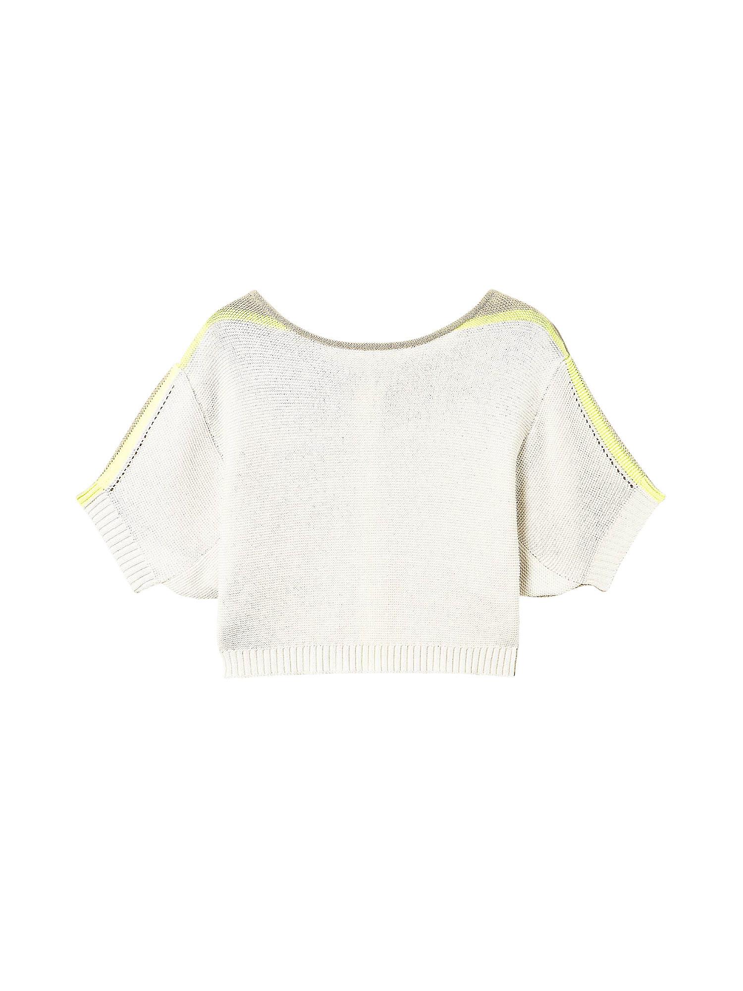 Cardigan in maglia doppio uso dettagli fluo, Bianco, large image number 0