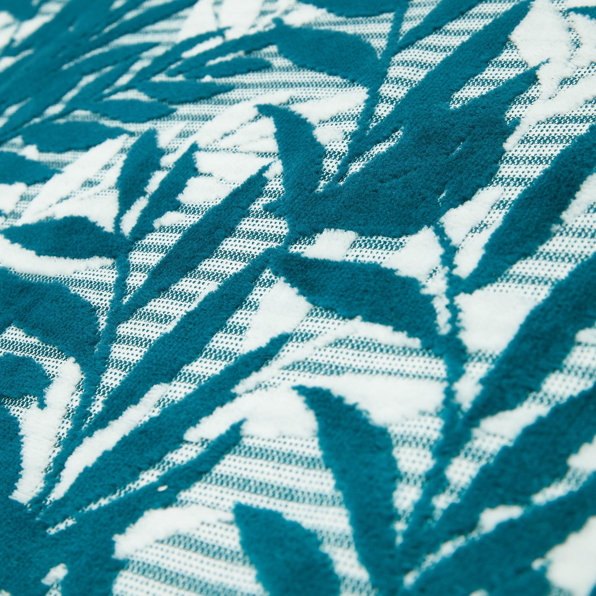 Asciugamano cotone velour motivo foglie, Verde scuro, large image number 2