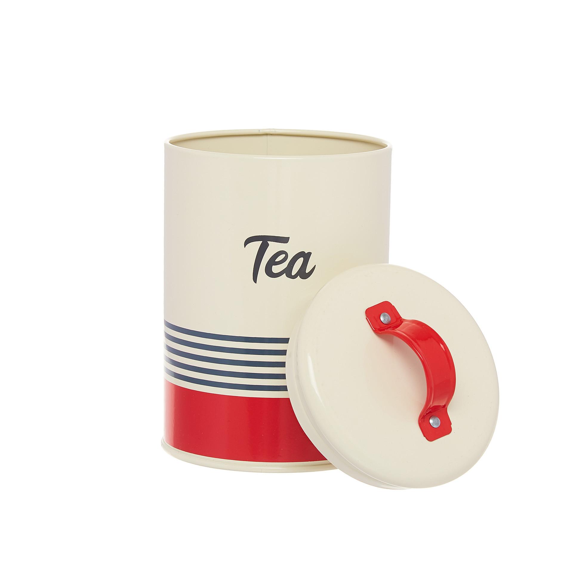 Barattolo ferro smaltato Tea, Bianco/Rosso, large image number 1