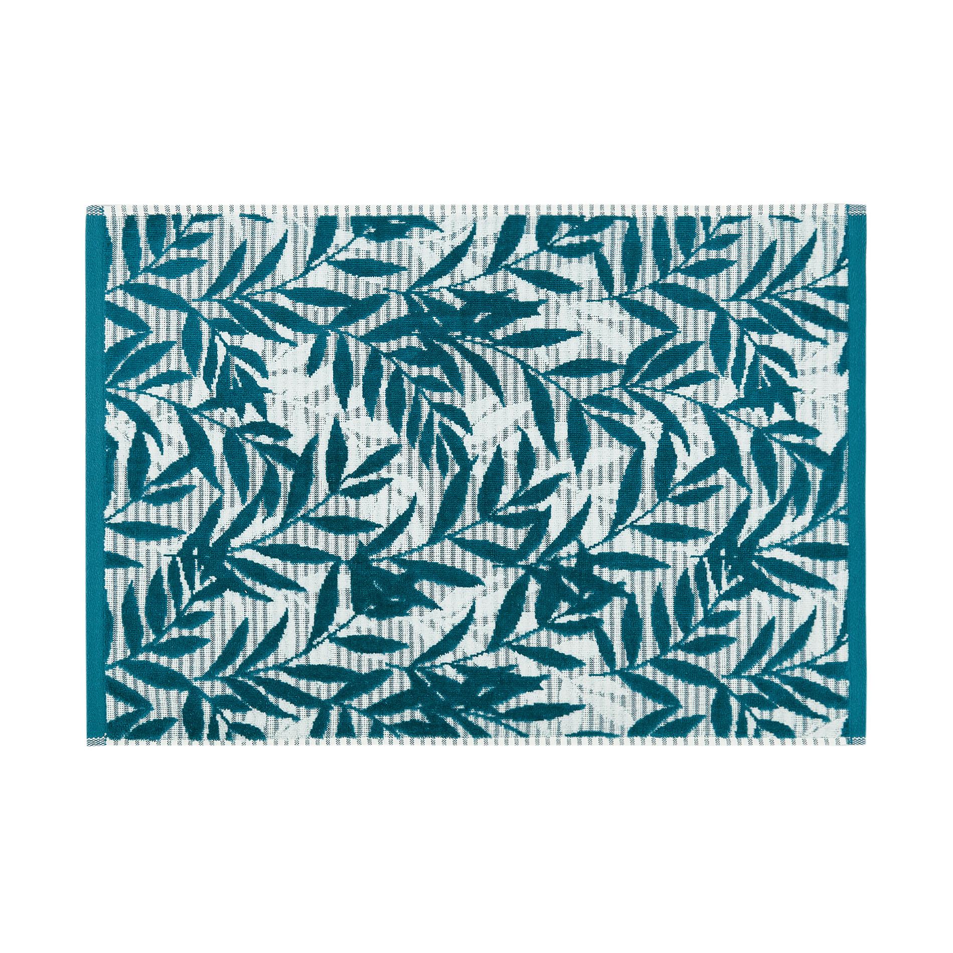 Asciugamano cotone velour motivo foglie, Verde scuro, large image number 1