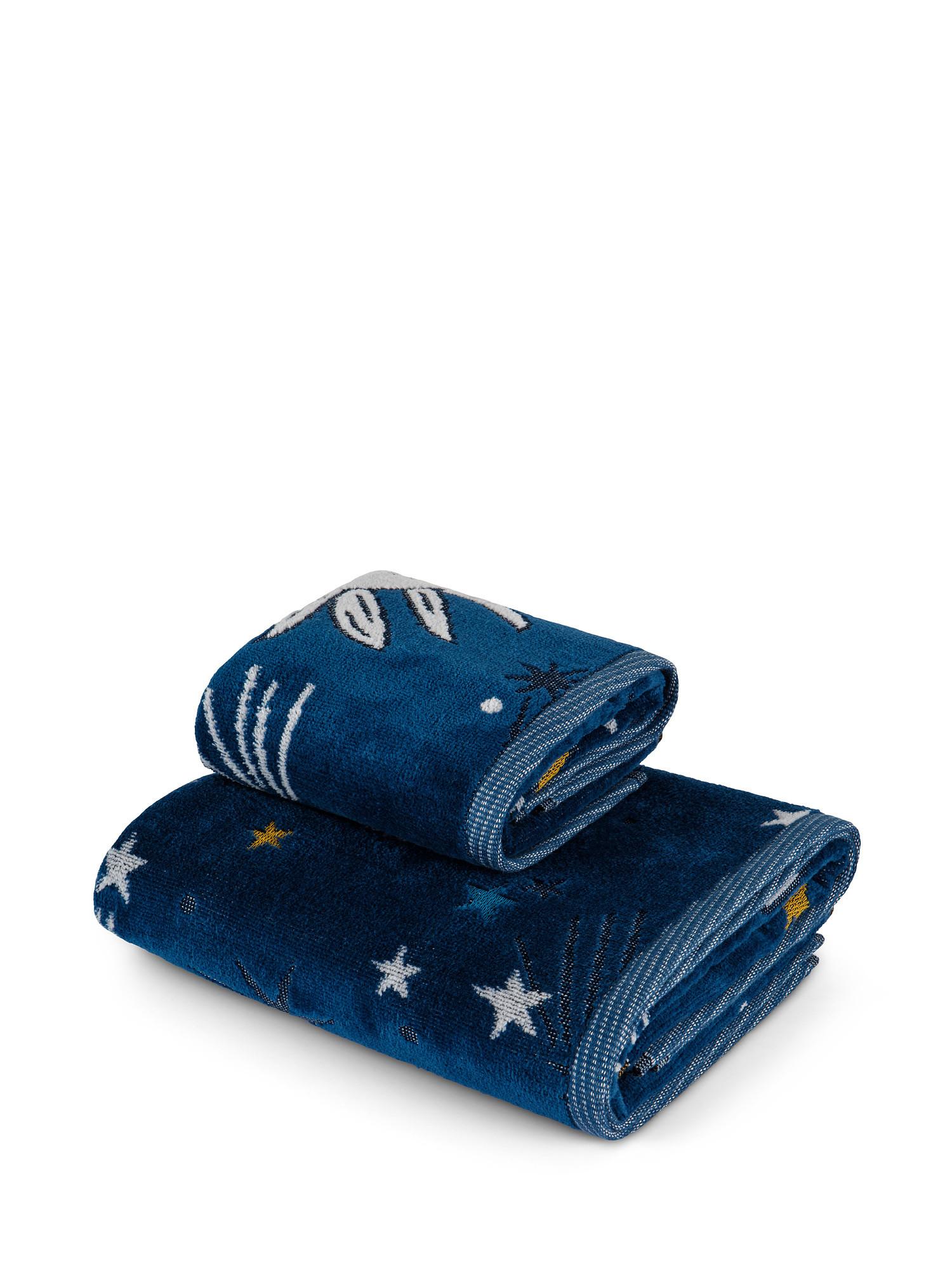 Asciugamano cotone velour motivo tarocchi, Blu, large image number 0