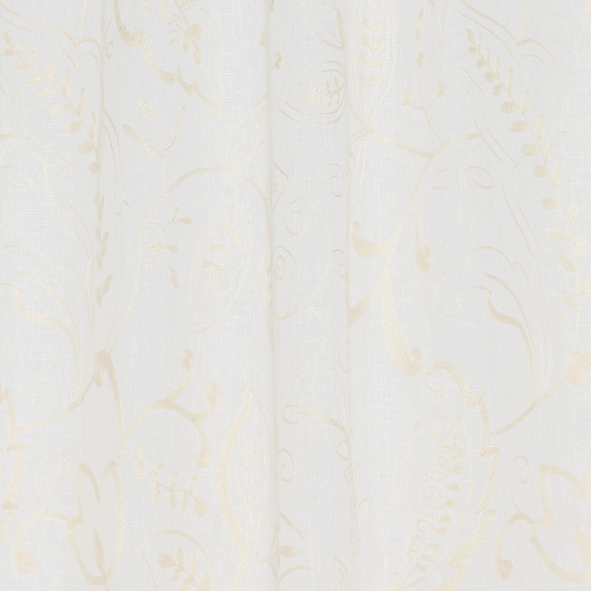 Tenda puro lino ricami floreali, Bianco, large image number 0