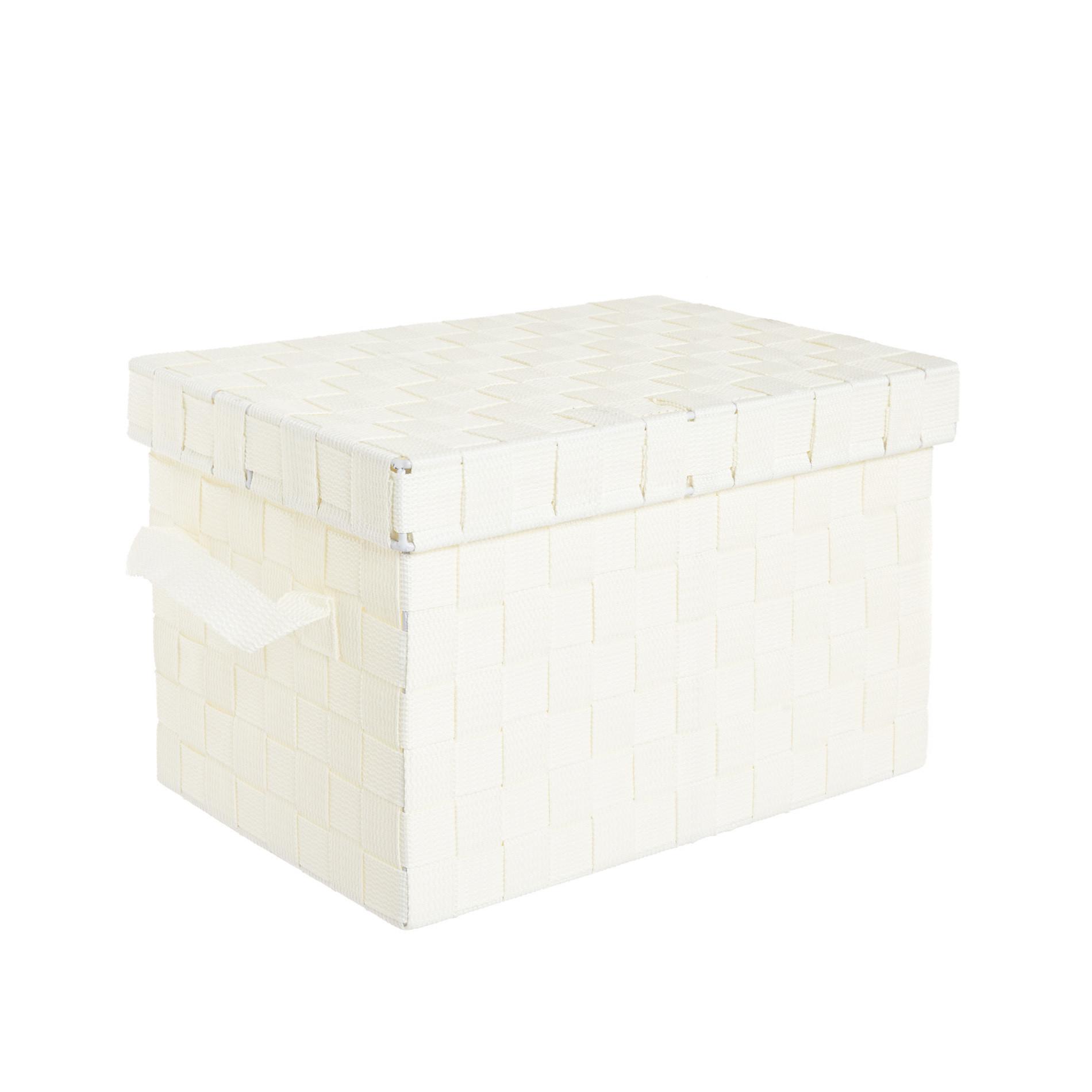 Storage box a nastri intrecciati, Bianco, large image number 0