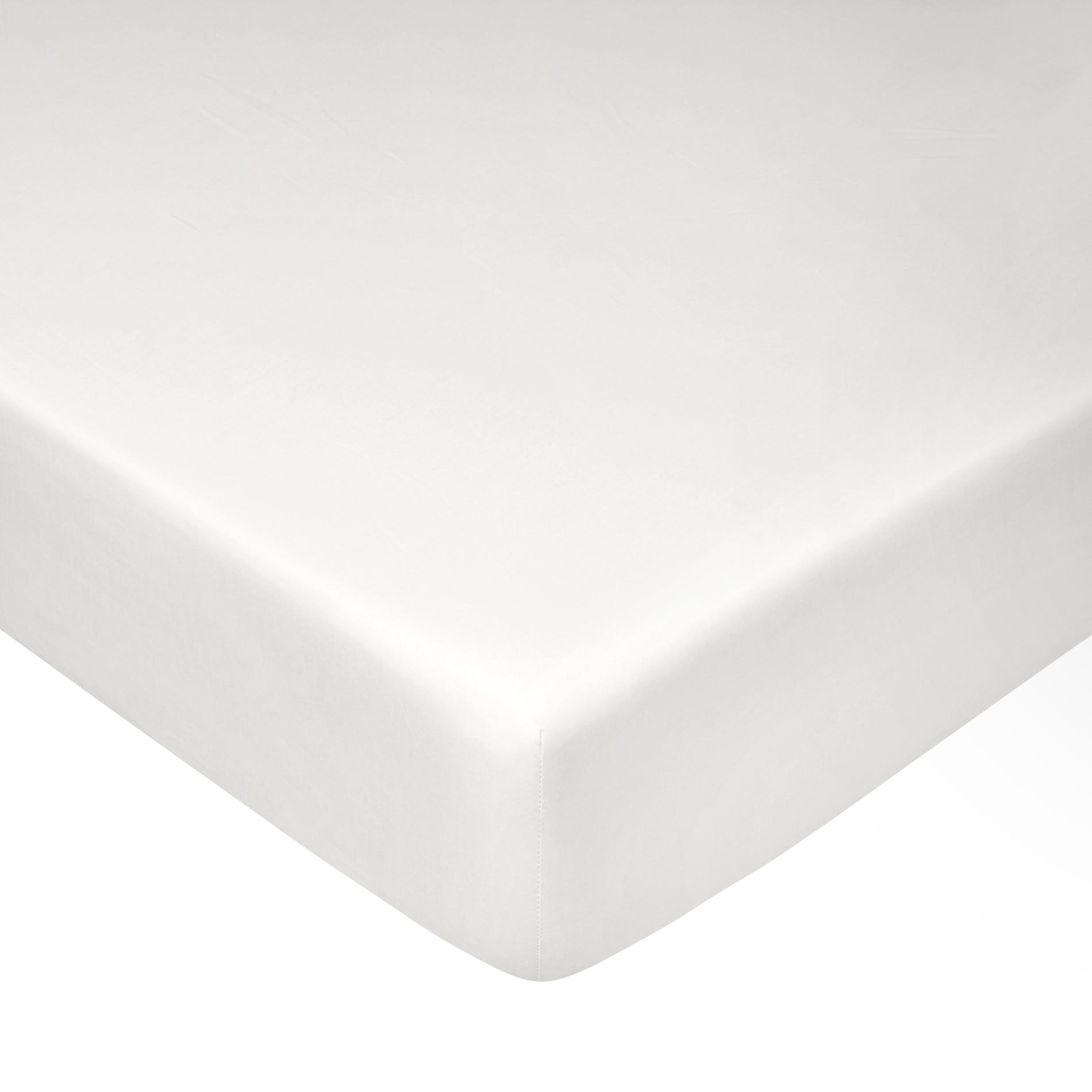 Lenzuolo con angoli in percalle tinta unita Zefiro, Bianco, large image number 0