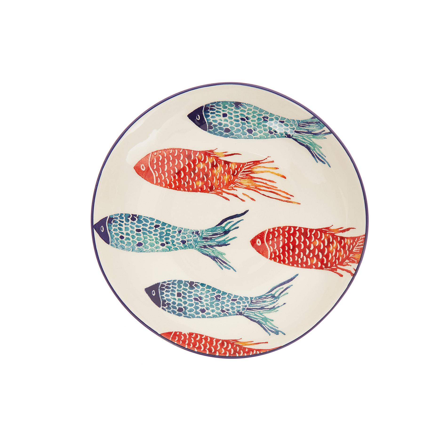 Piatto fondo ceramica decoro pesci, Bianco/Multicolor, large image number 1