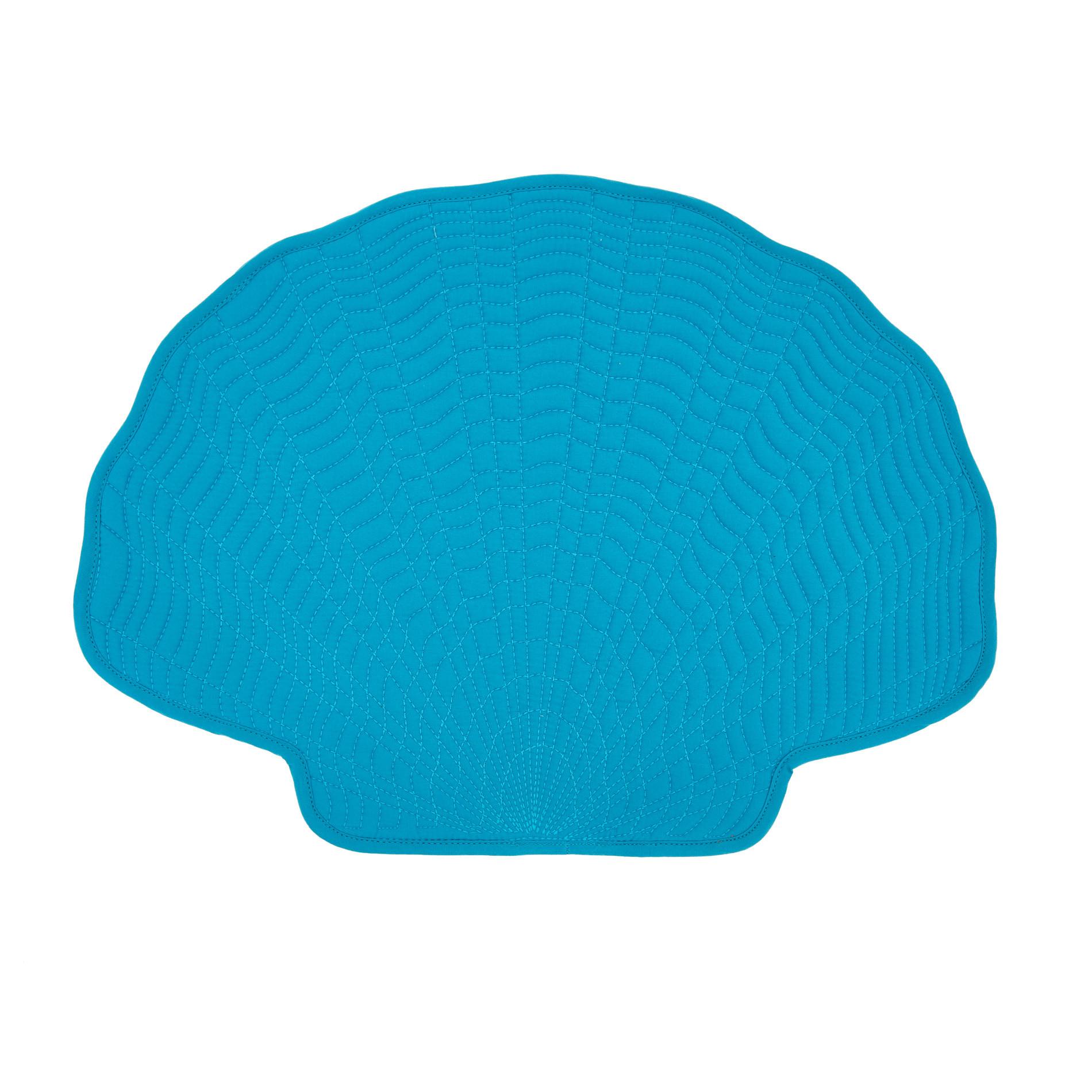 Tovaglietta cotone trapuntato a conchiglia, Azzurro, large image number 0