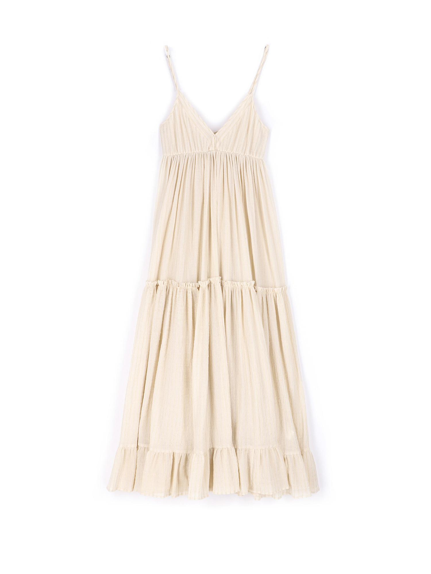 Vestito Carrara in garza leggera a righe, Bianco panna, large image number 0