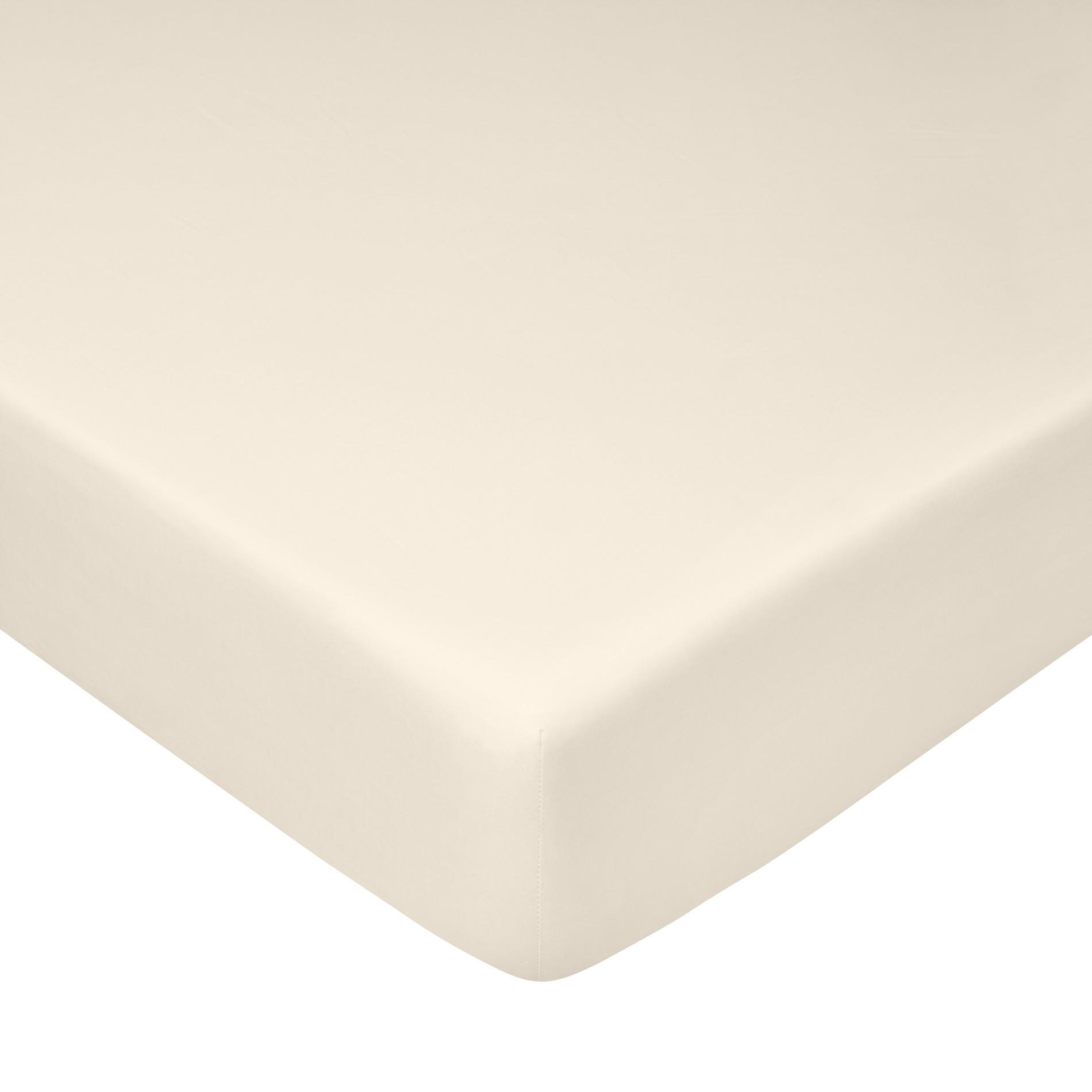 Lenzuolo con angoli raso di cotone tinta unita, Beige chiaro, large image number 0
