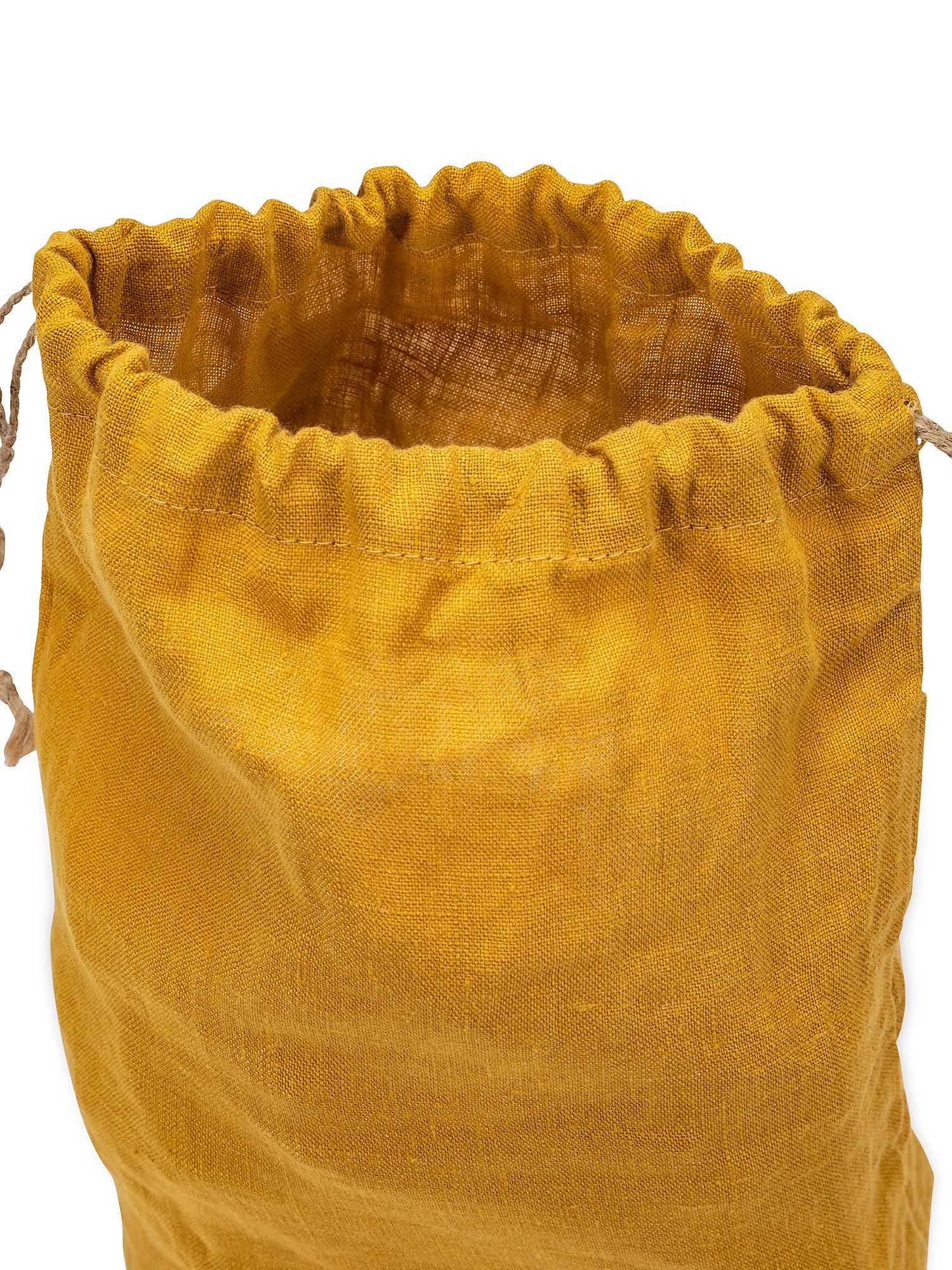 Sacchettino lino lavato tinta unita, Giallo ocra, large image number 1