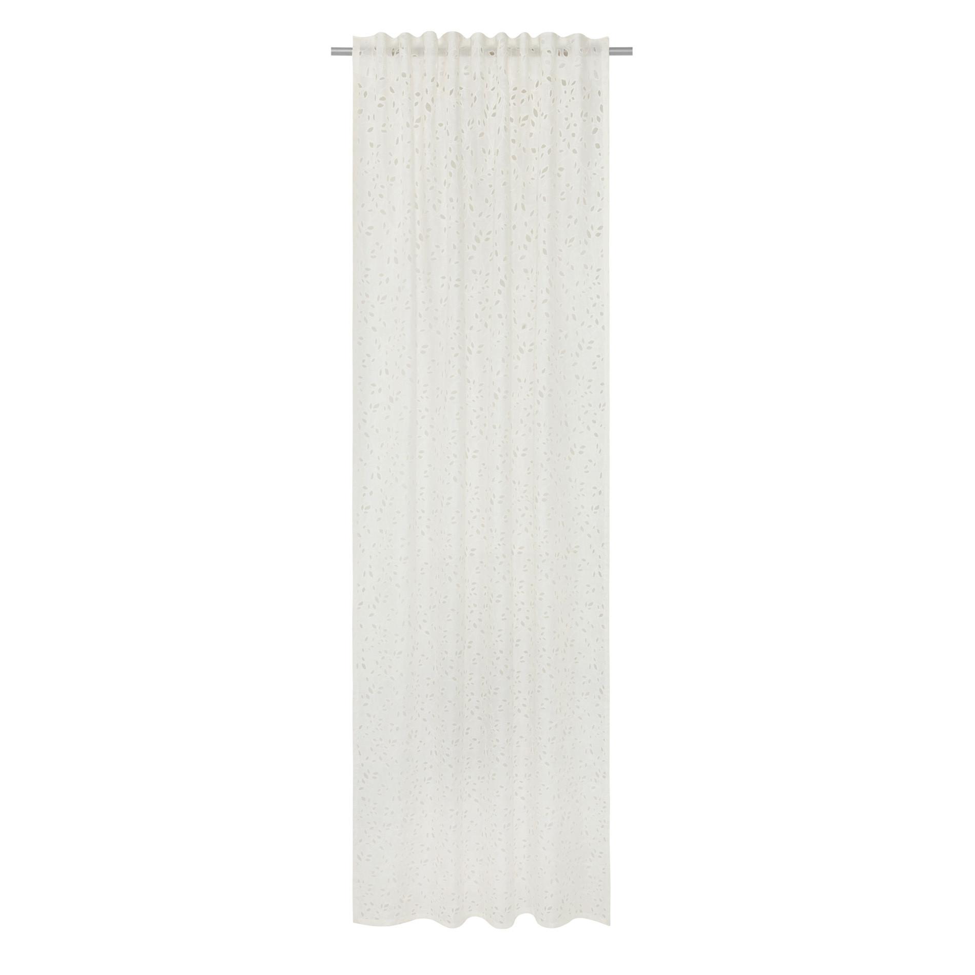 Tenda lino sangallo passanti nascosti, Bianco, large image number 2