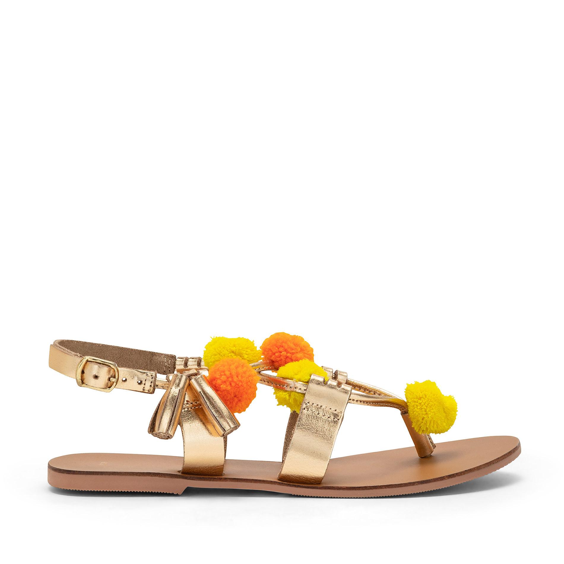 Sandalo infradito con pompon, Multicolor, large image number 1