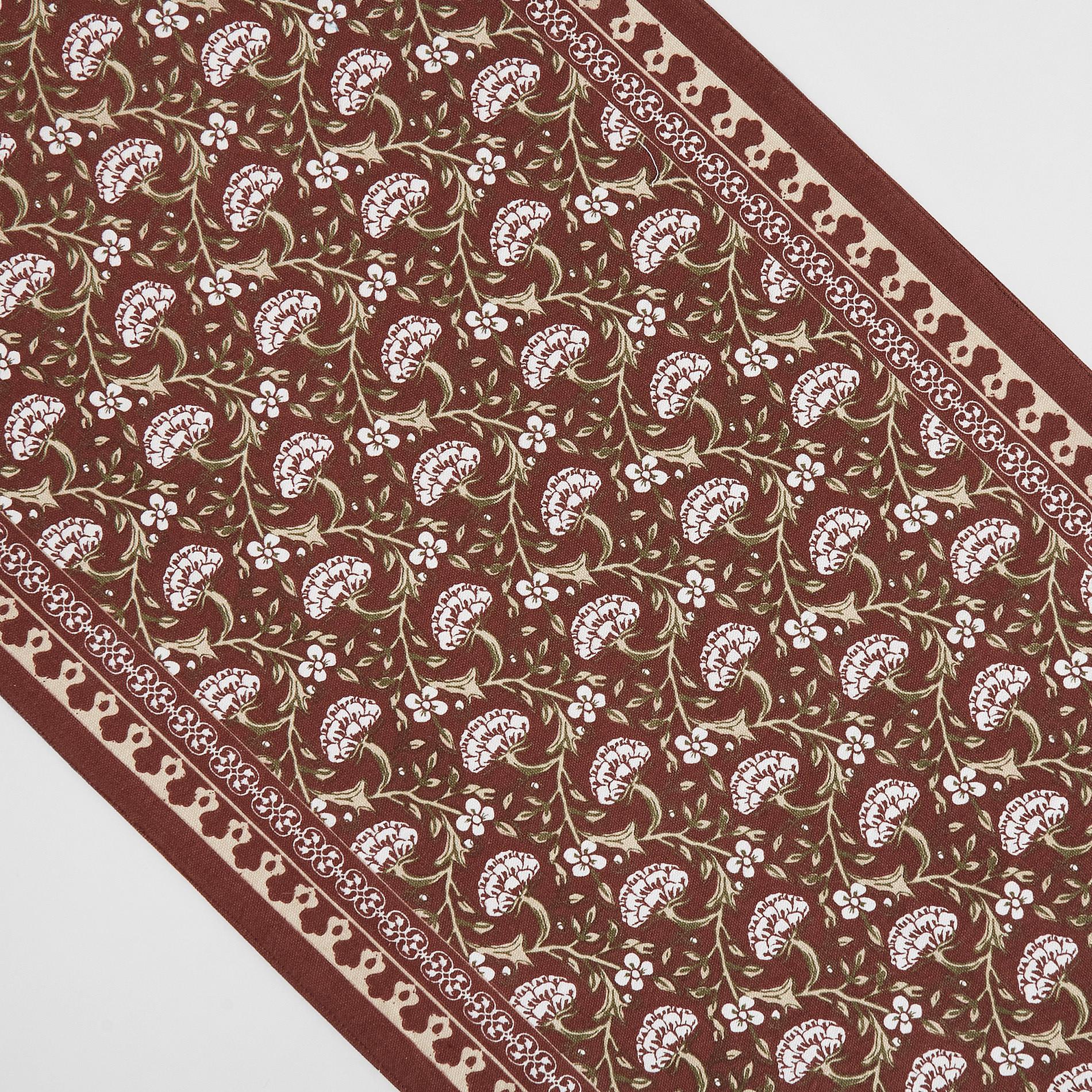 Runner puro cotone stampa ornamentale, Marrone chiaro, large image number 1