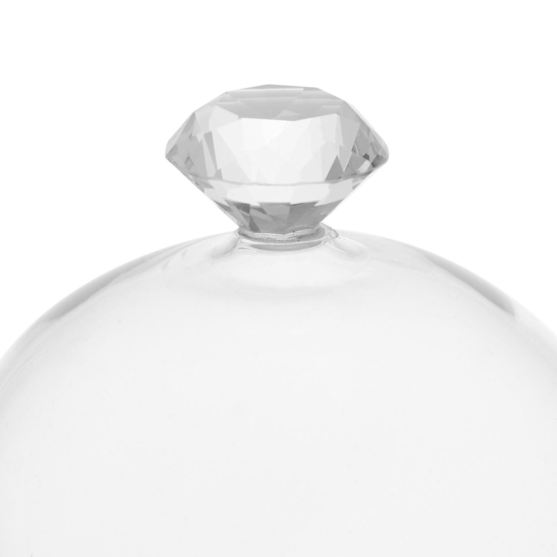 Alzata vetro con diamante, Bianco, large image number 2