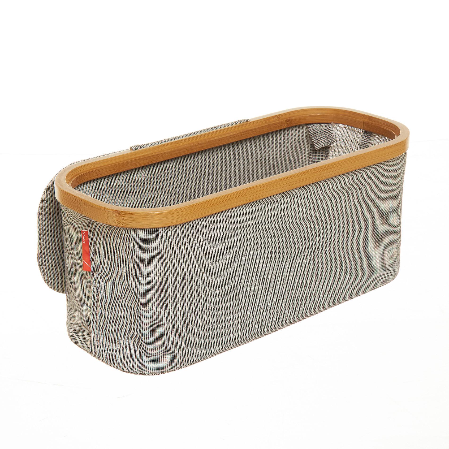 Portasalviette misto cotone e bordo in bamboo, Grigio, large image number 1