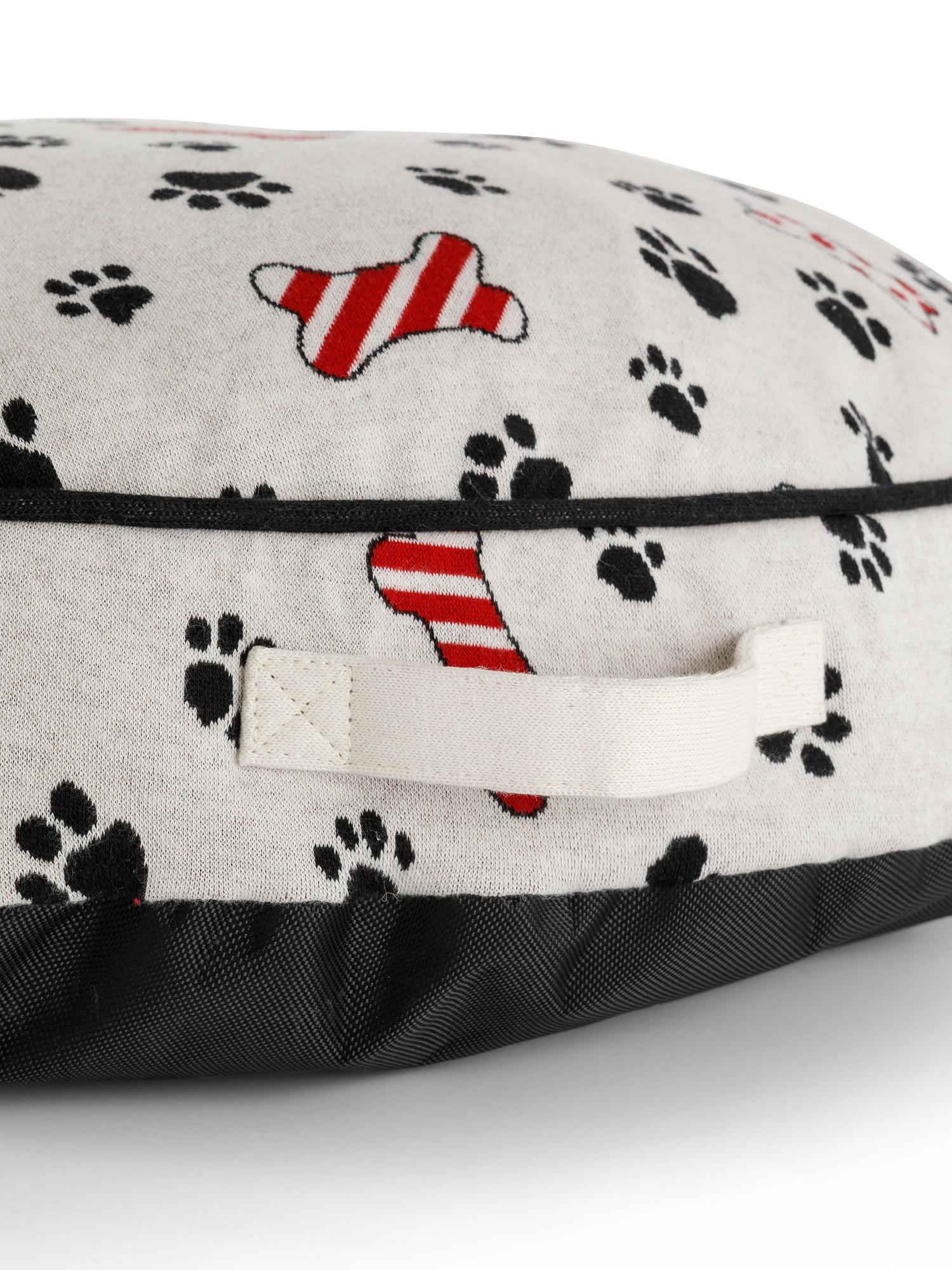 Cuscino cuccia motivo zampette, Beige chiaro, large image number 2