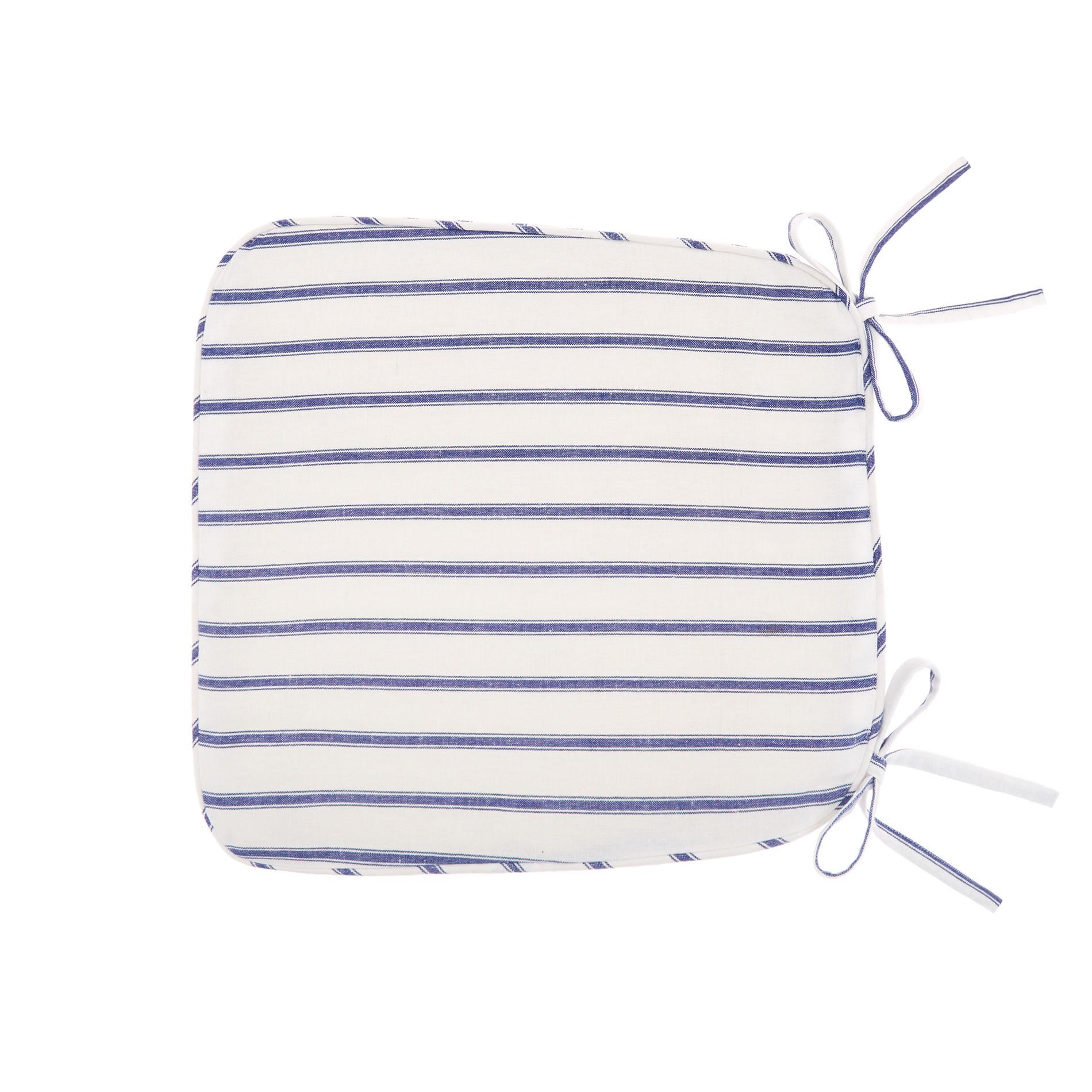Cuscino da cucina puro cotone a righe, Blu, large image number 0