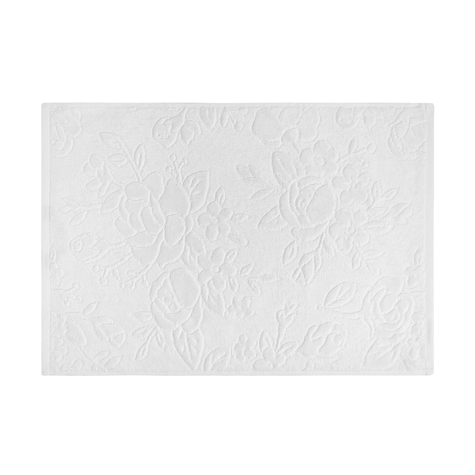 Asciugamano puro cotone lavorazione floreale, Bianco, large image number 2