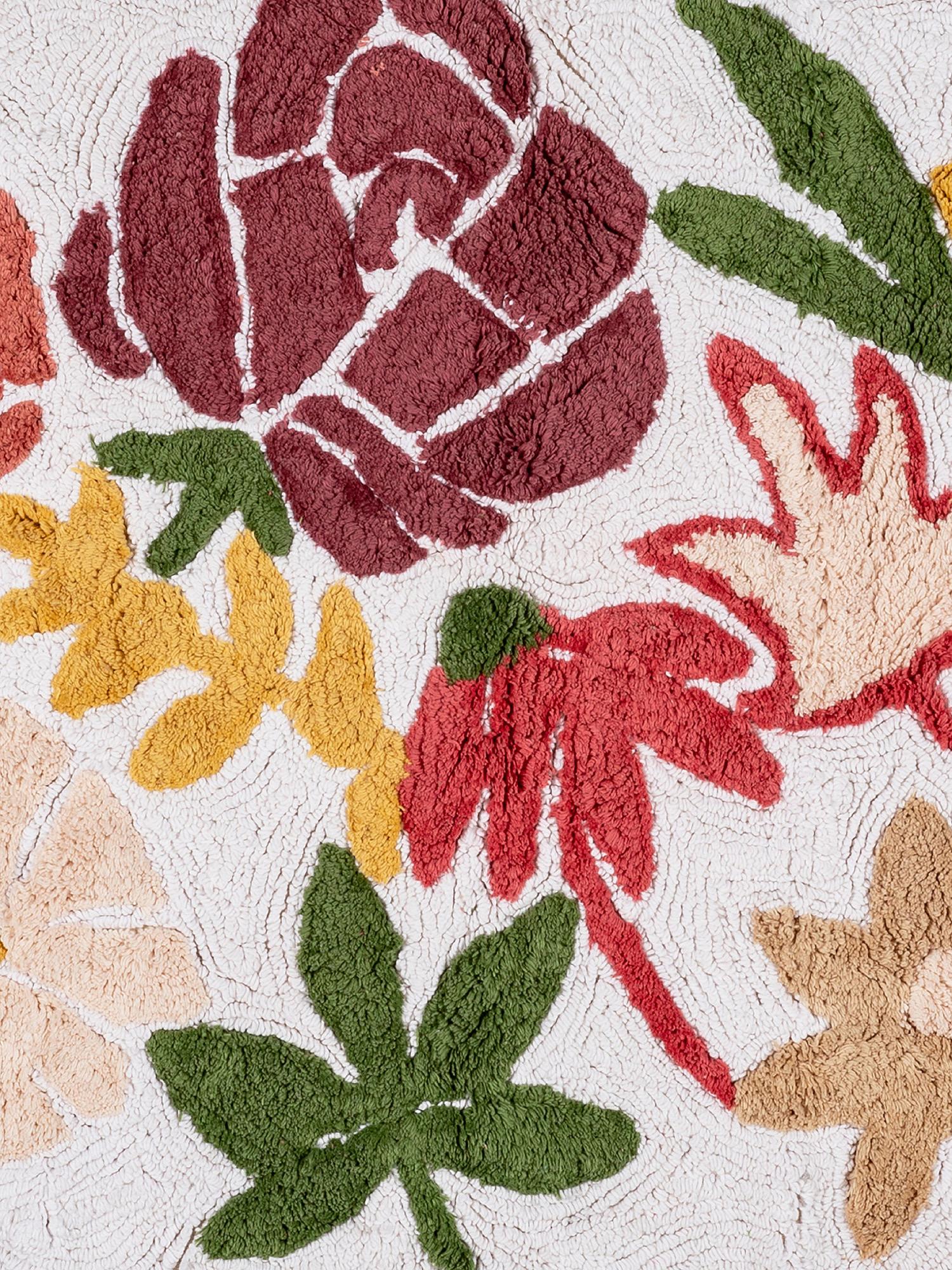 Tappeto bagno cotone sagomato motivo fiori, Rosa scuro, large image number 1