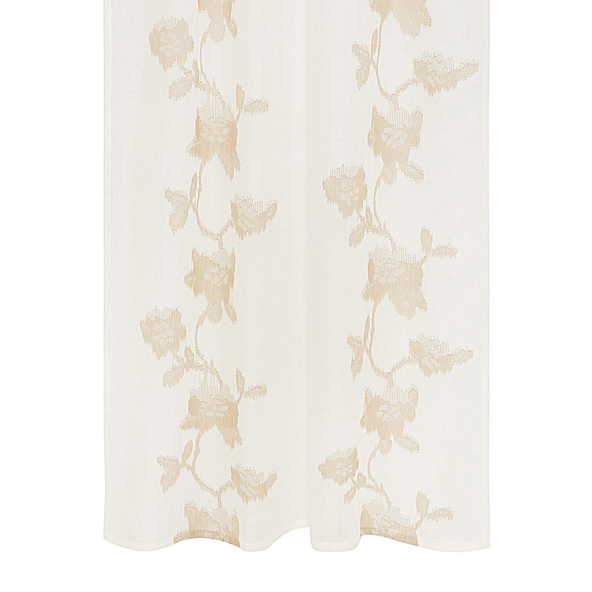 Tenda puro lino ricami floreali, Bianco/Oro, large image number 0