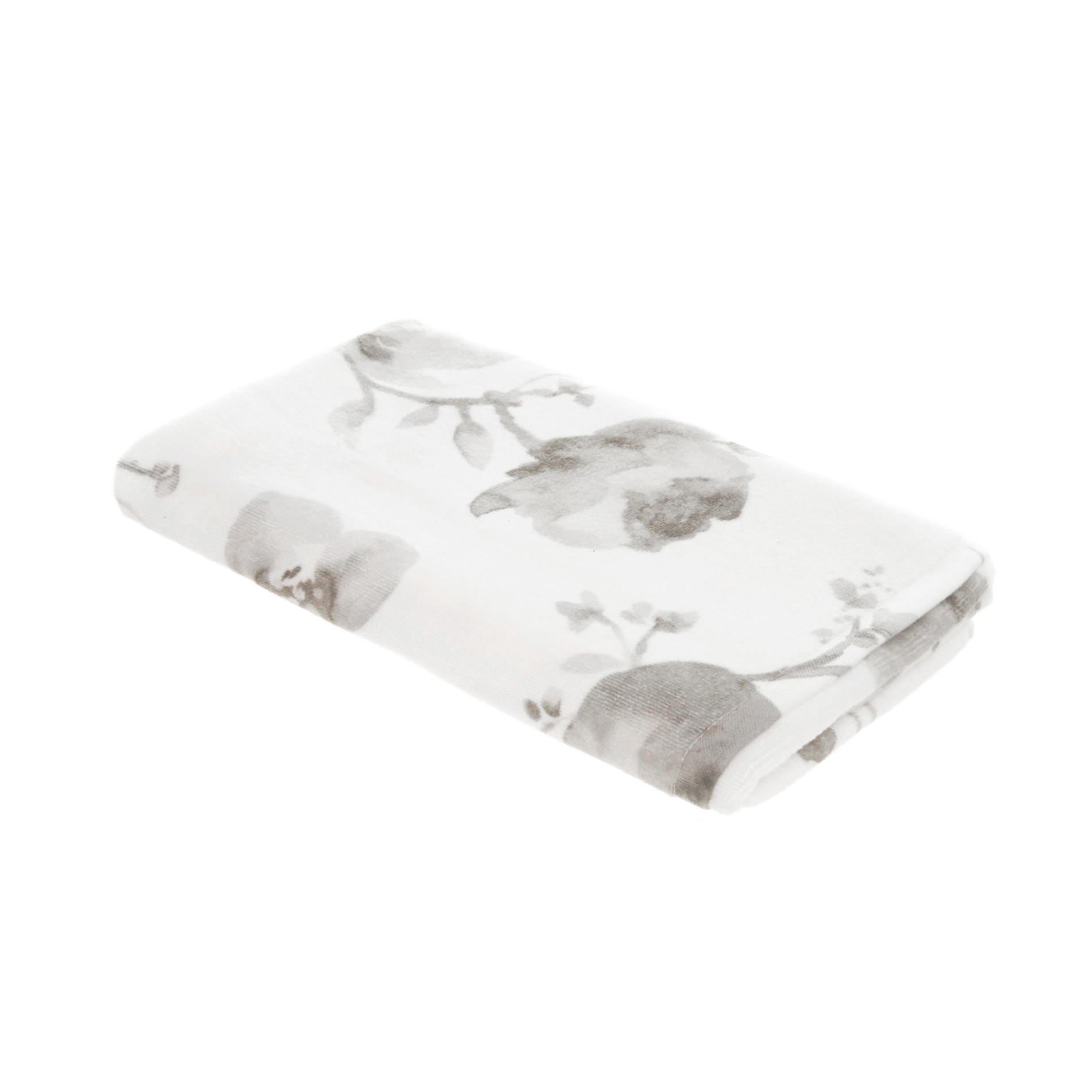Asciugamano puro cotone floreale Portofino, Bianco/Grigio, large image number 1