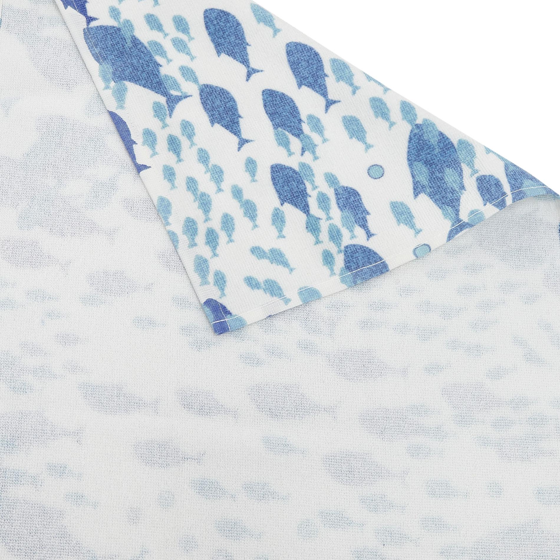 Asciugamano cotone velour stampa pesci, Bianco, large image number 2
