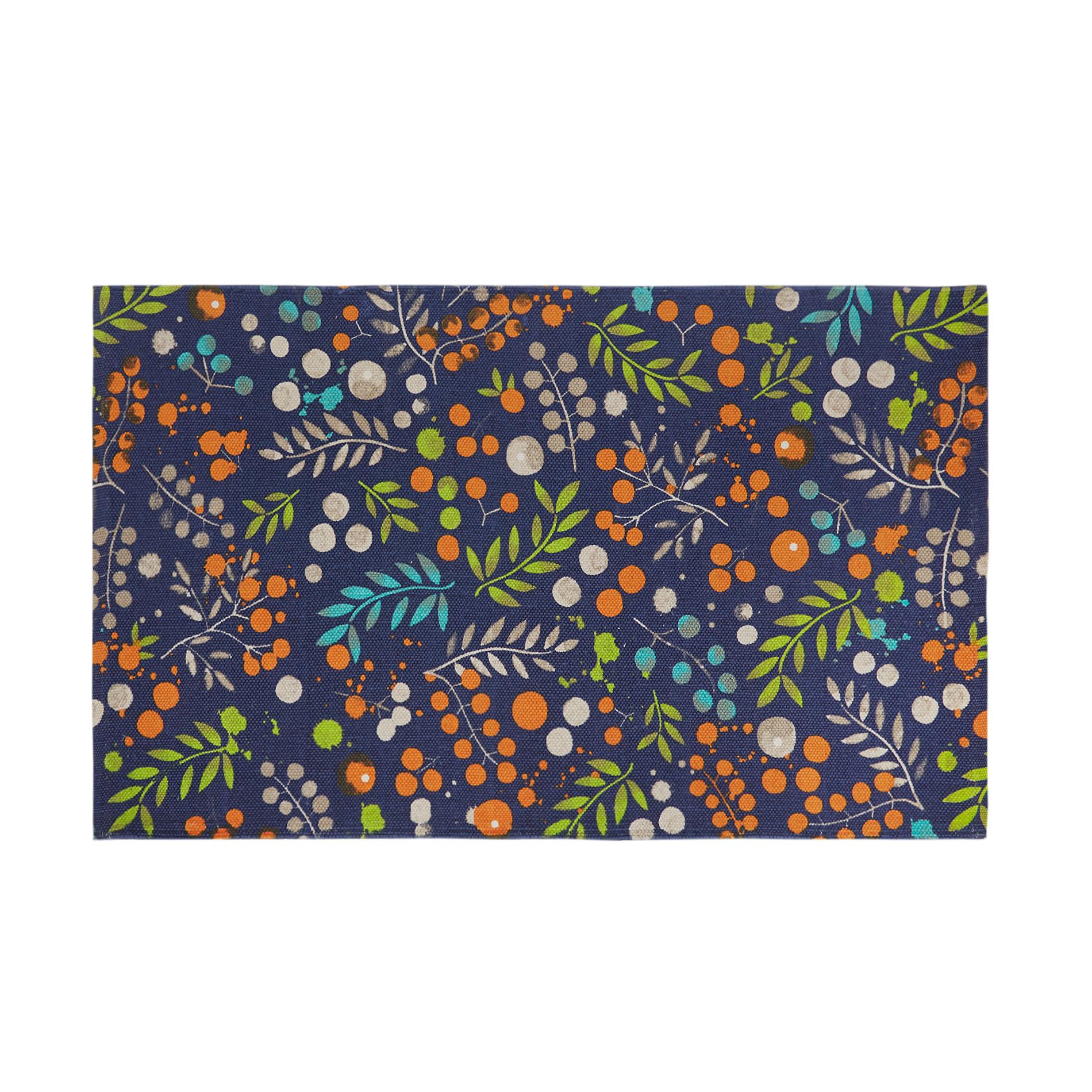 Sottolavello misto cotone stampa fiori, Blu, large image number 0