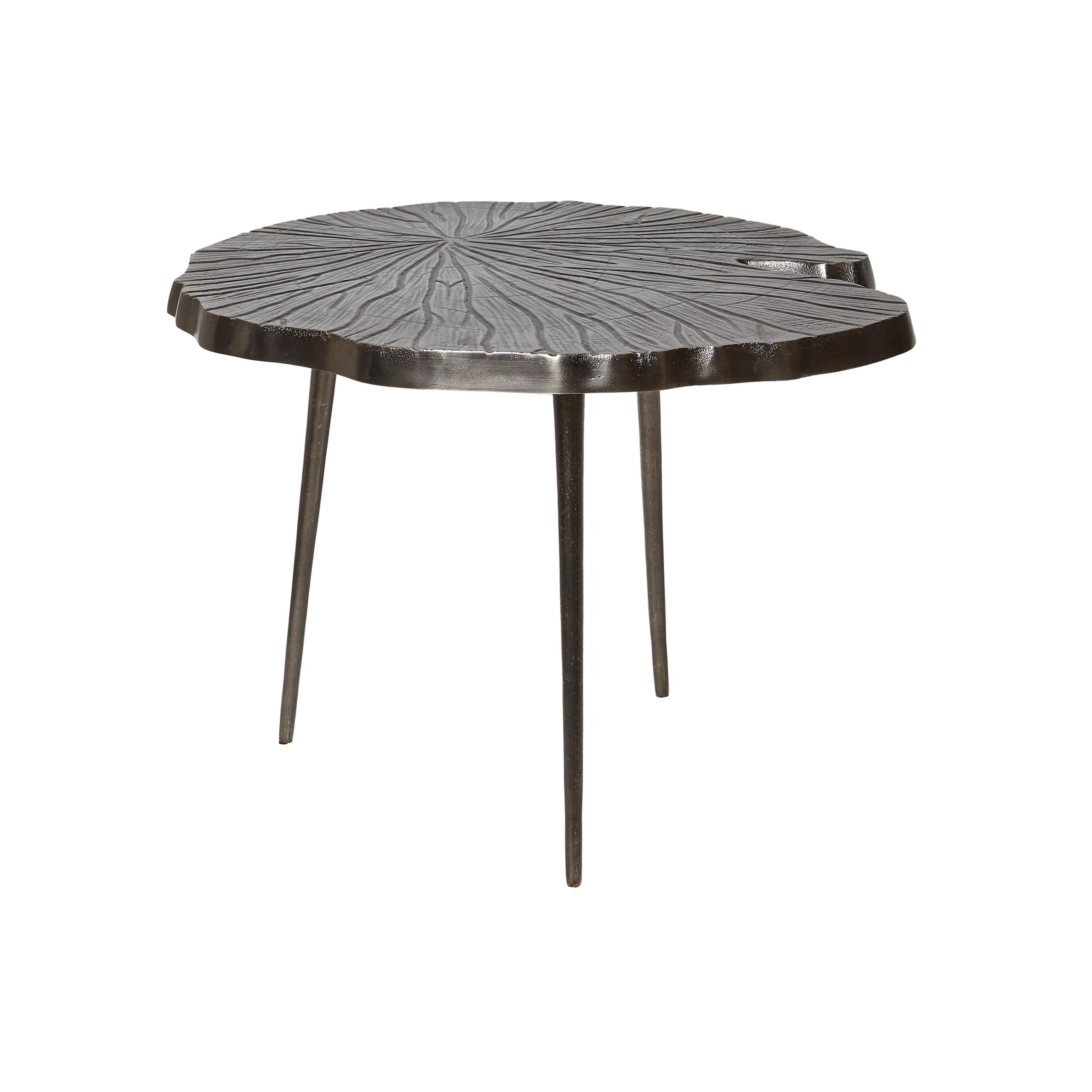 Tavolino in alluminio a foglia Leaf, Grigio argento, large image number 0
