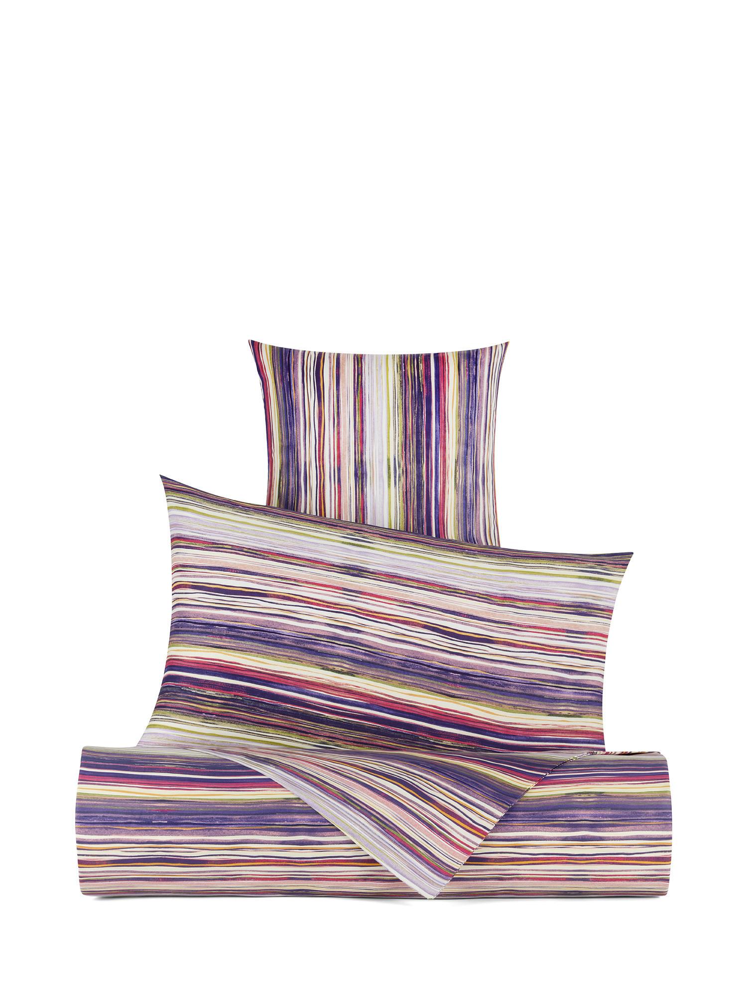 Copripiumino raso di cotone fantasia mille righe, Viola, large image number 0