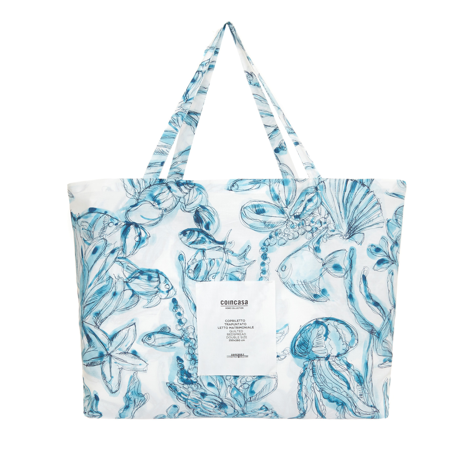 Trapunta cotone biologico fantasia marina, Blu, large image number 2